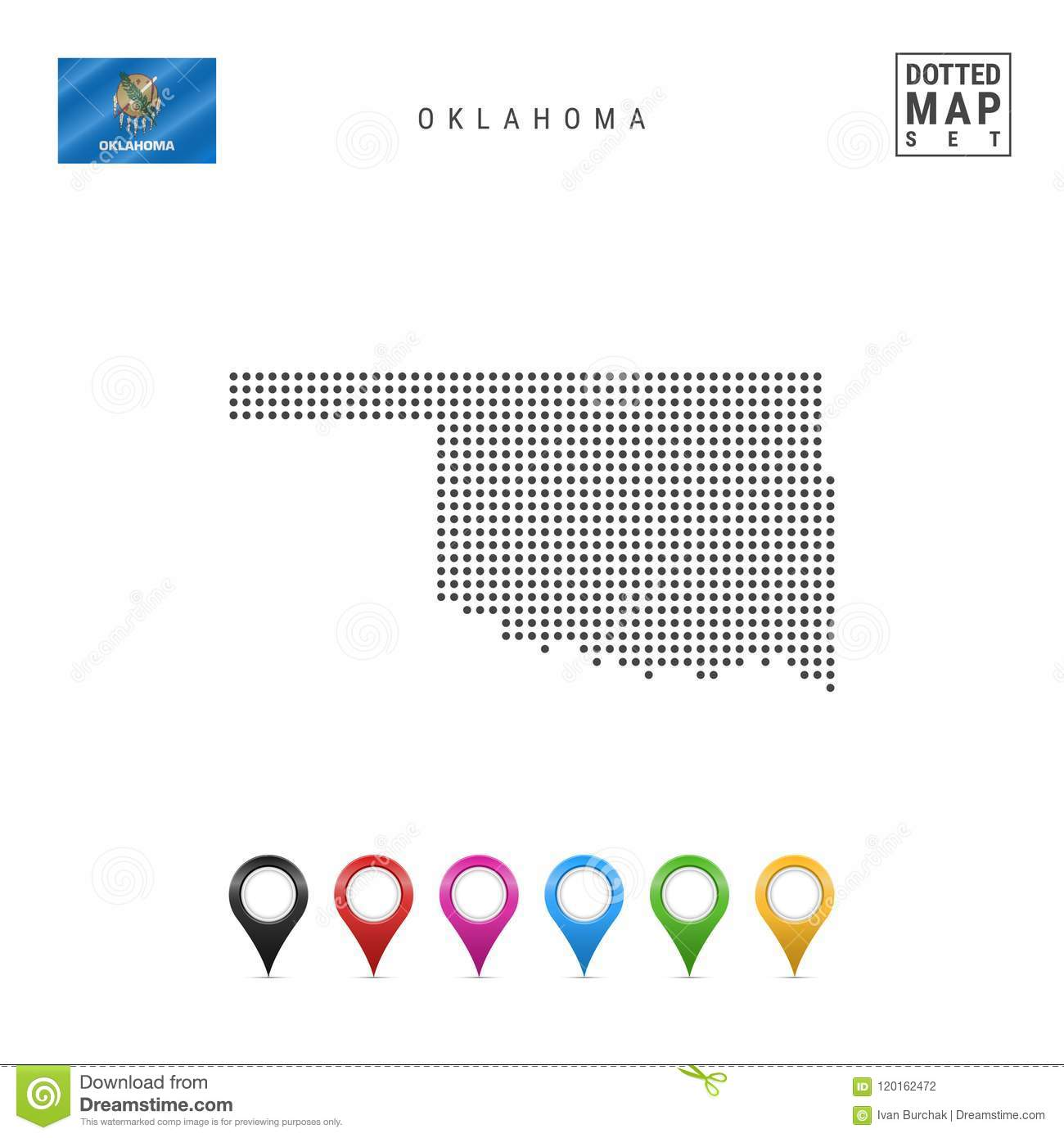 Dots Pattern Vector Map Of Oklahoma Stylized Silhouette