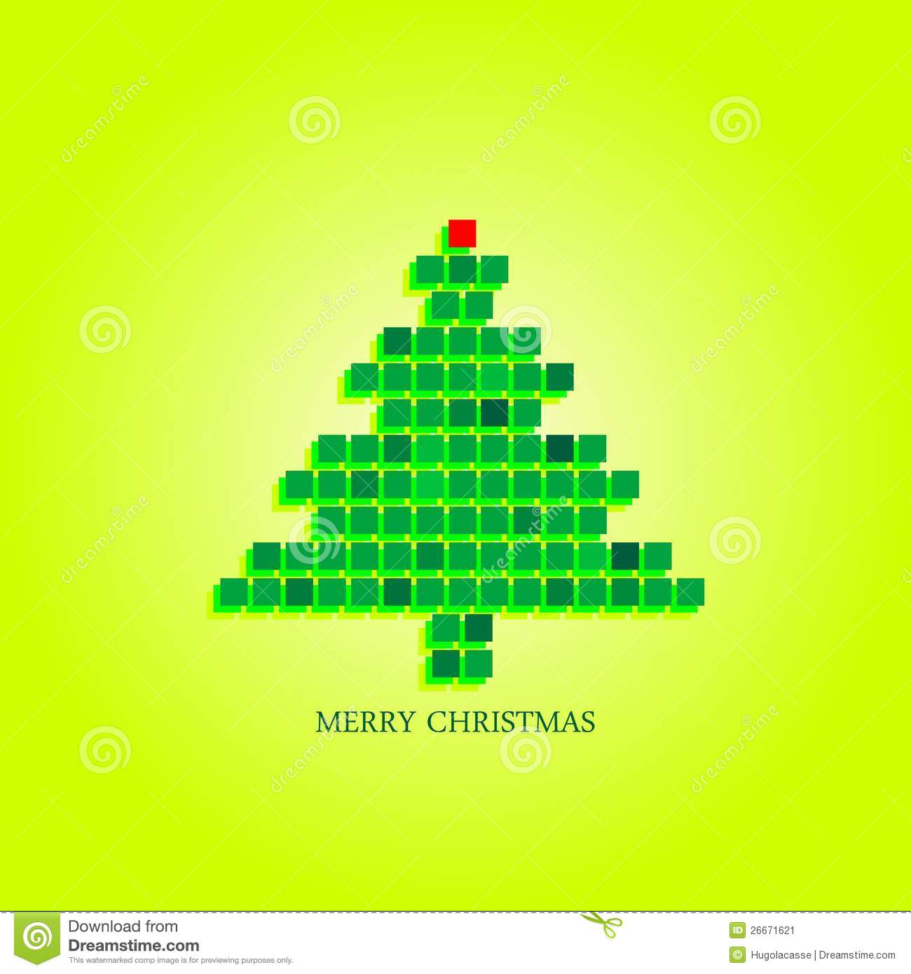 Dotted Christmas Tree Funky Greeting Card Design Stock