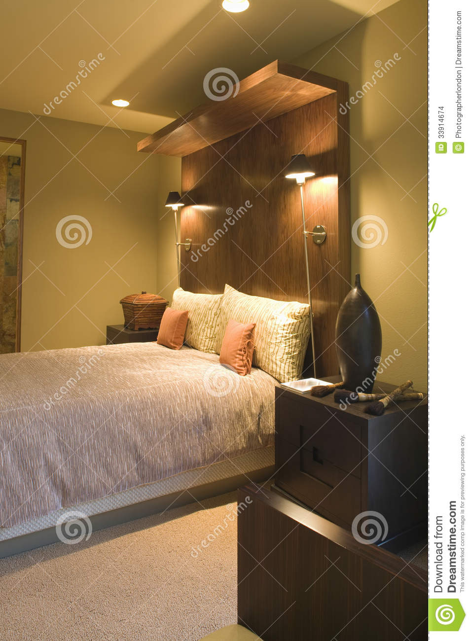 double bed with wooden headboard stock photo image of pillow lighting 33914674