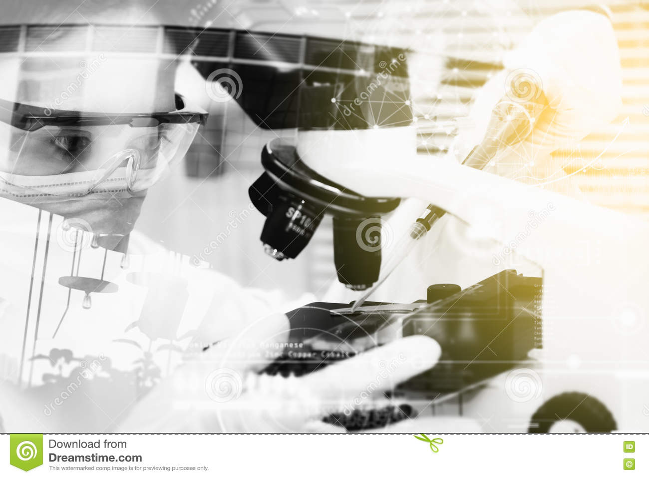 Double Exposure Of Scientist Are Certain Activities On Experimental Science Like Mixing
