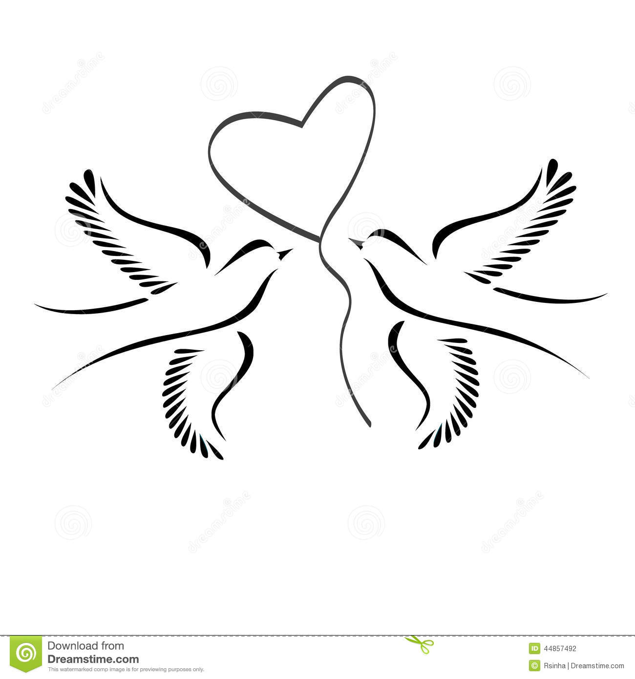 Doves With Heart Stock Vector Illustration Of Background