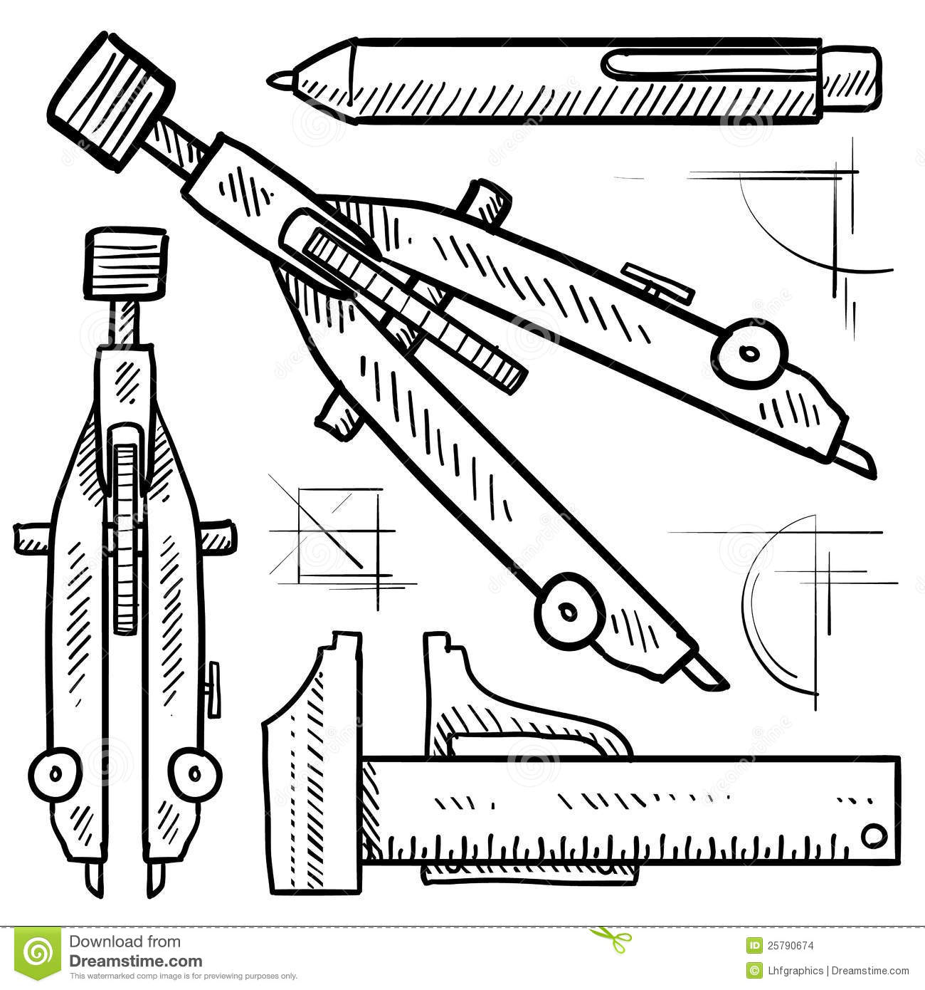 Drafting And Architectural Tools Sketch Stock Vector