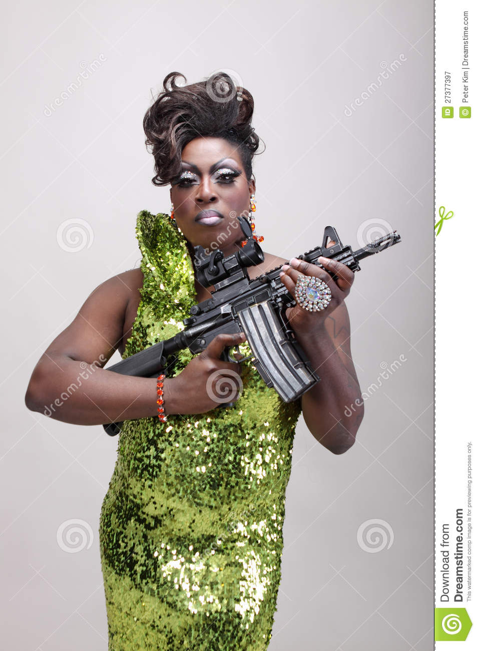 Drag Queen With Gun Stock Image Image Of American