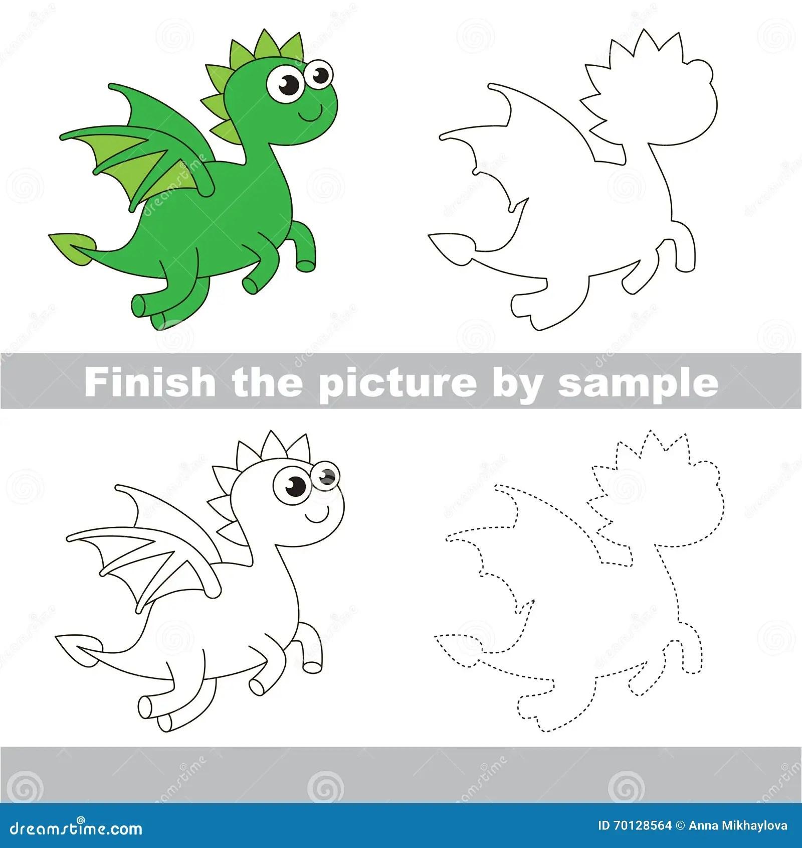 Drago Verde Foglio Di Lavoro Del Disegno Illustrazione