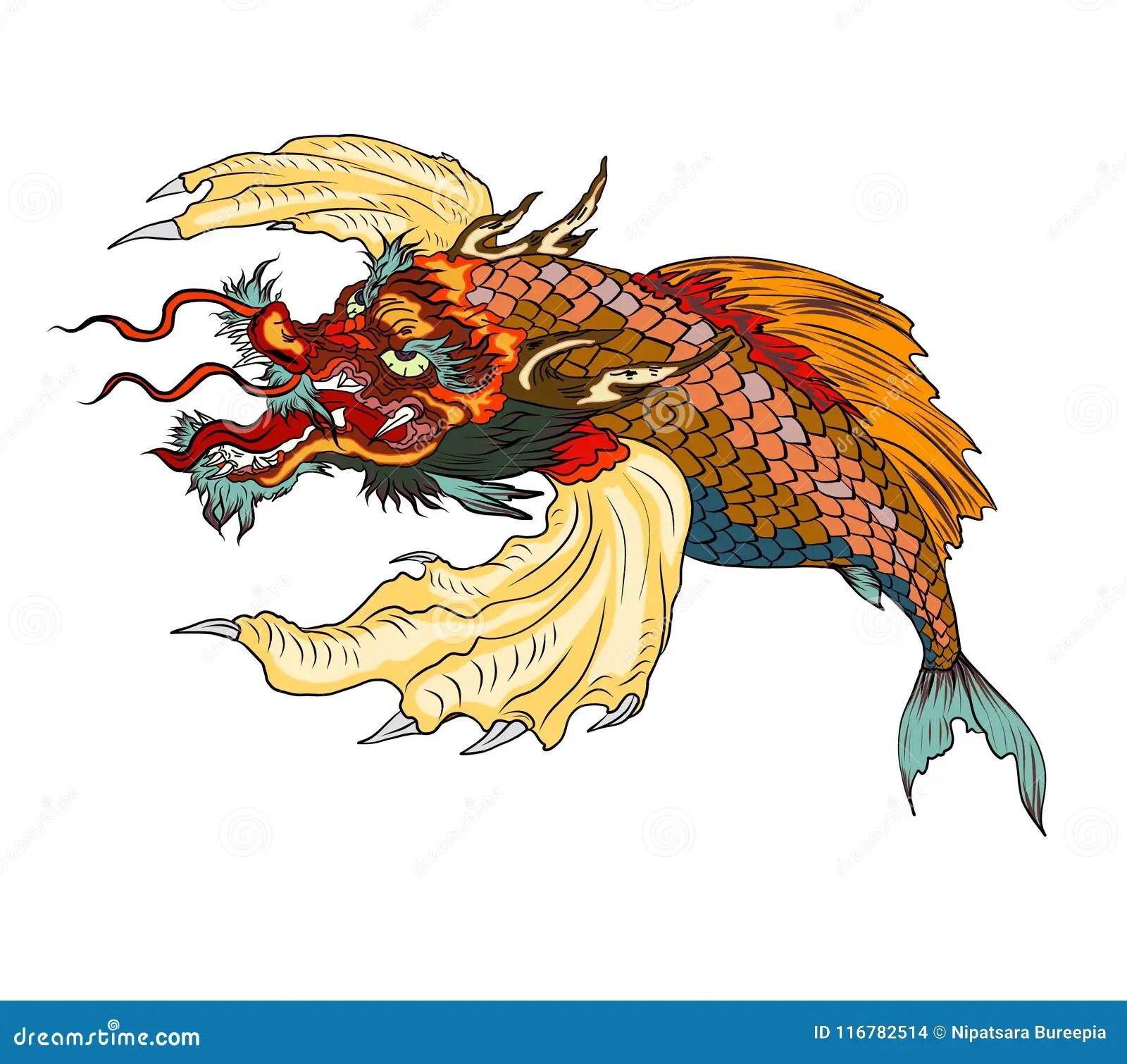 Dragon Head And Koi Carp Fish In Circle Design For Tattoo Stock Vector Illustration Of Fish Drawn 116782514