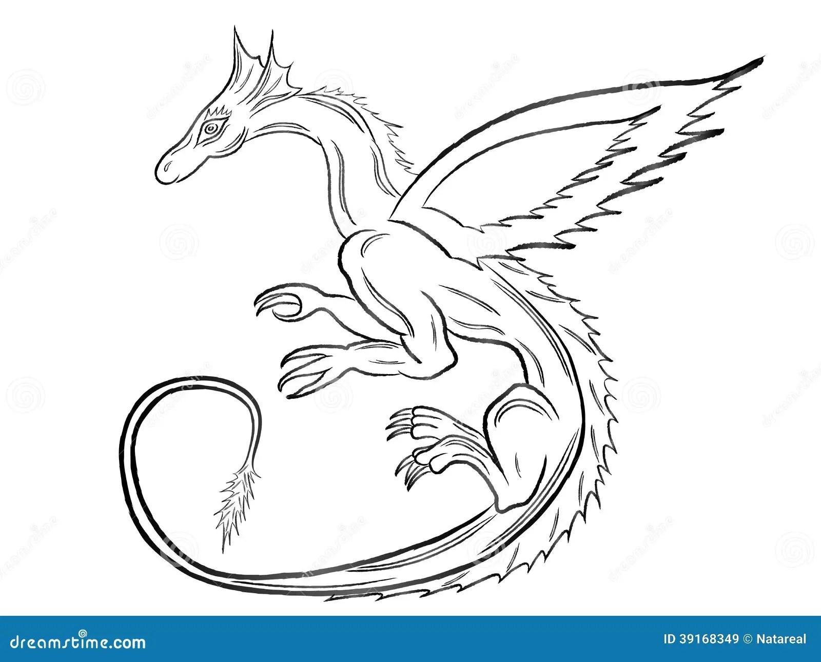 Dragon Noir Au Dessus De Blanc Illustration De Vecteur