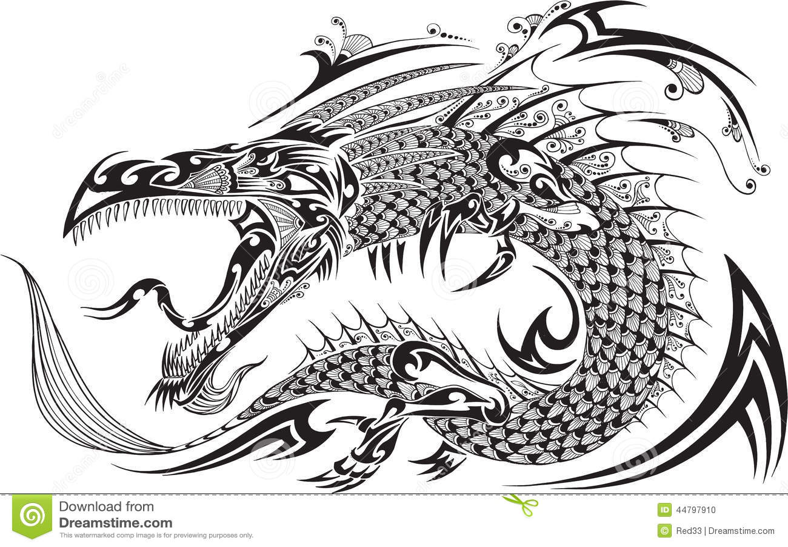 Dragon Tattoo Vector Ilustracin Del Vector Imagen 44797910