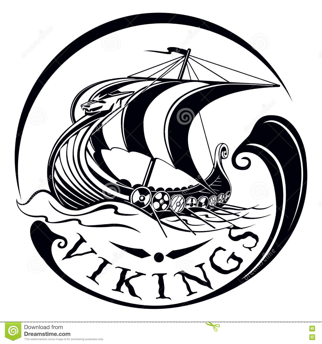 Drakkar Boat Viking Vintage Sailing Warship Stock Vector