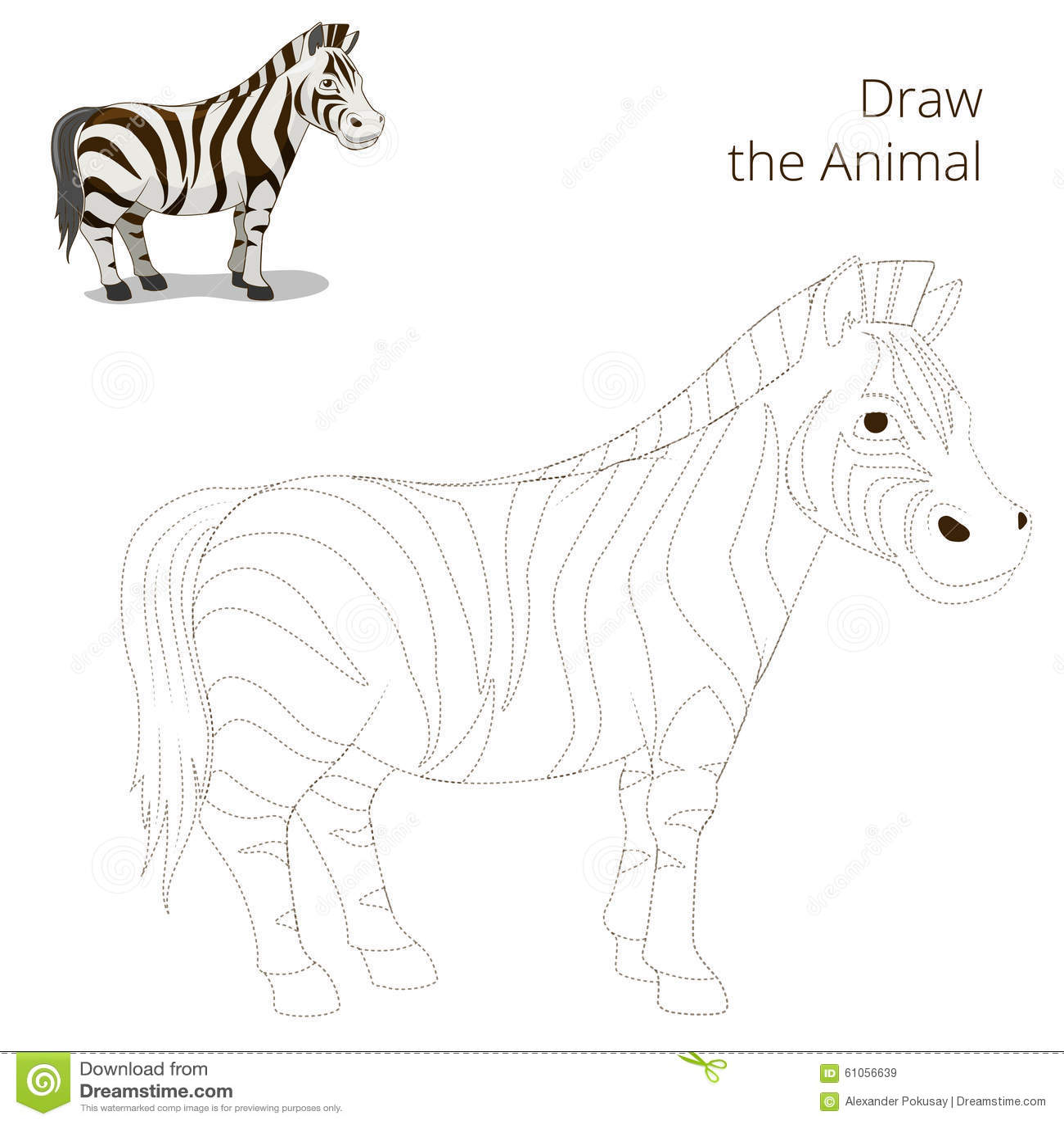 Draw The Animal Educational Game Zebra Stock Vector