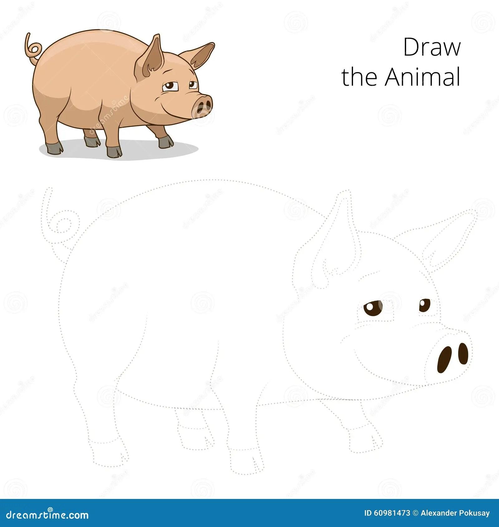 Draw The Animal Pig Educational Game Vector Cartoon Vector