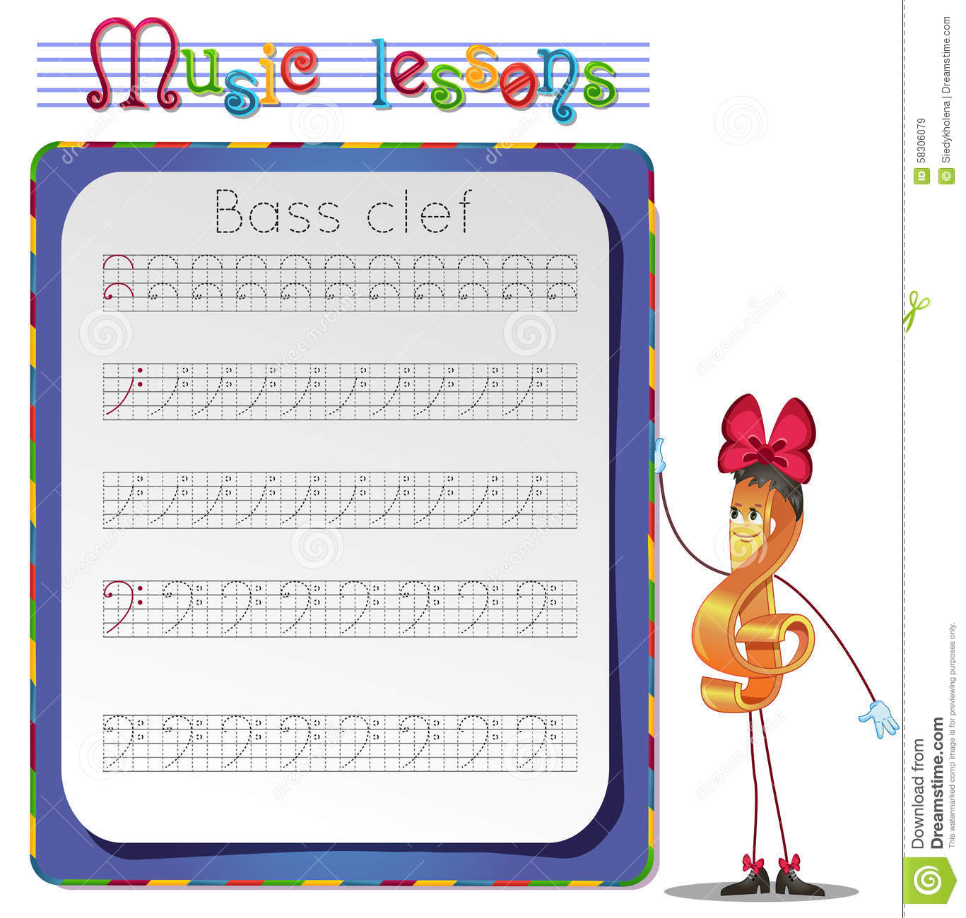 Draw A Bass Clef Stock Illustration Illustration Of