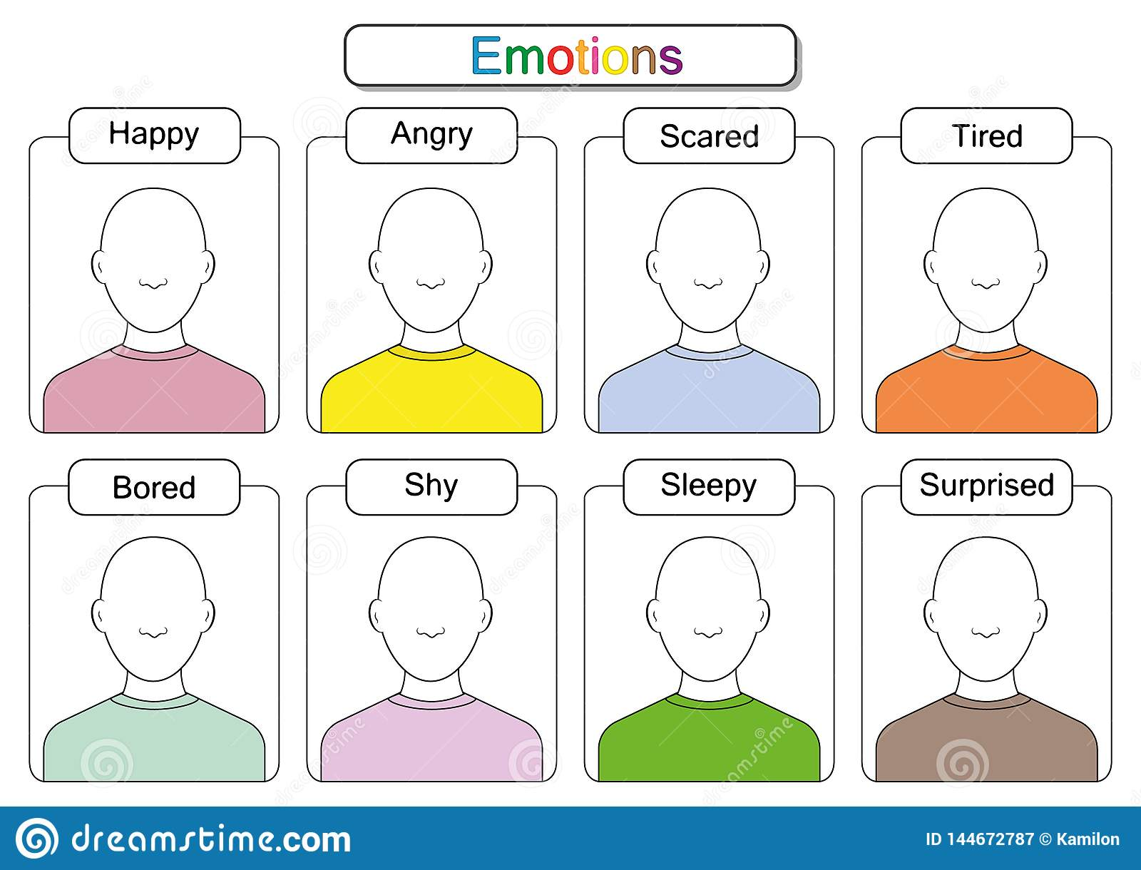 Children Are Learning Emotions Draw The Faces Draw The Emotions Educaitonal Worksheets For