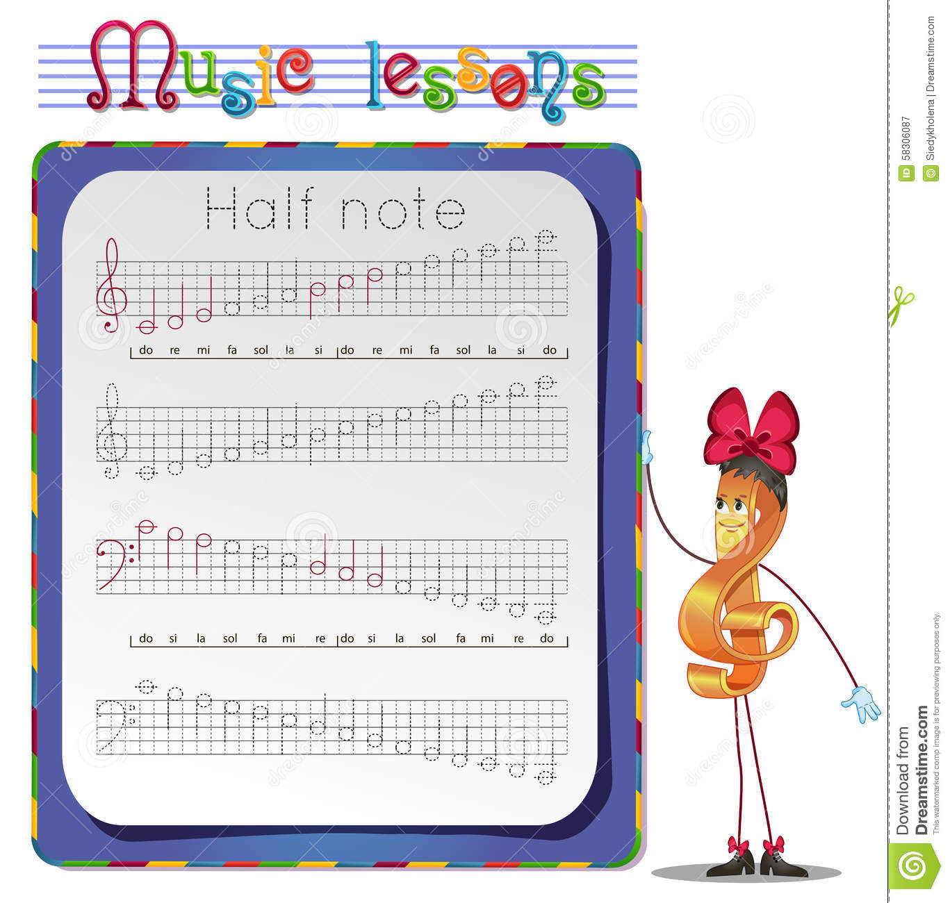 Draw A Half Note Stock Illustration
