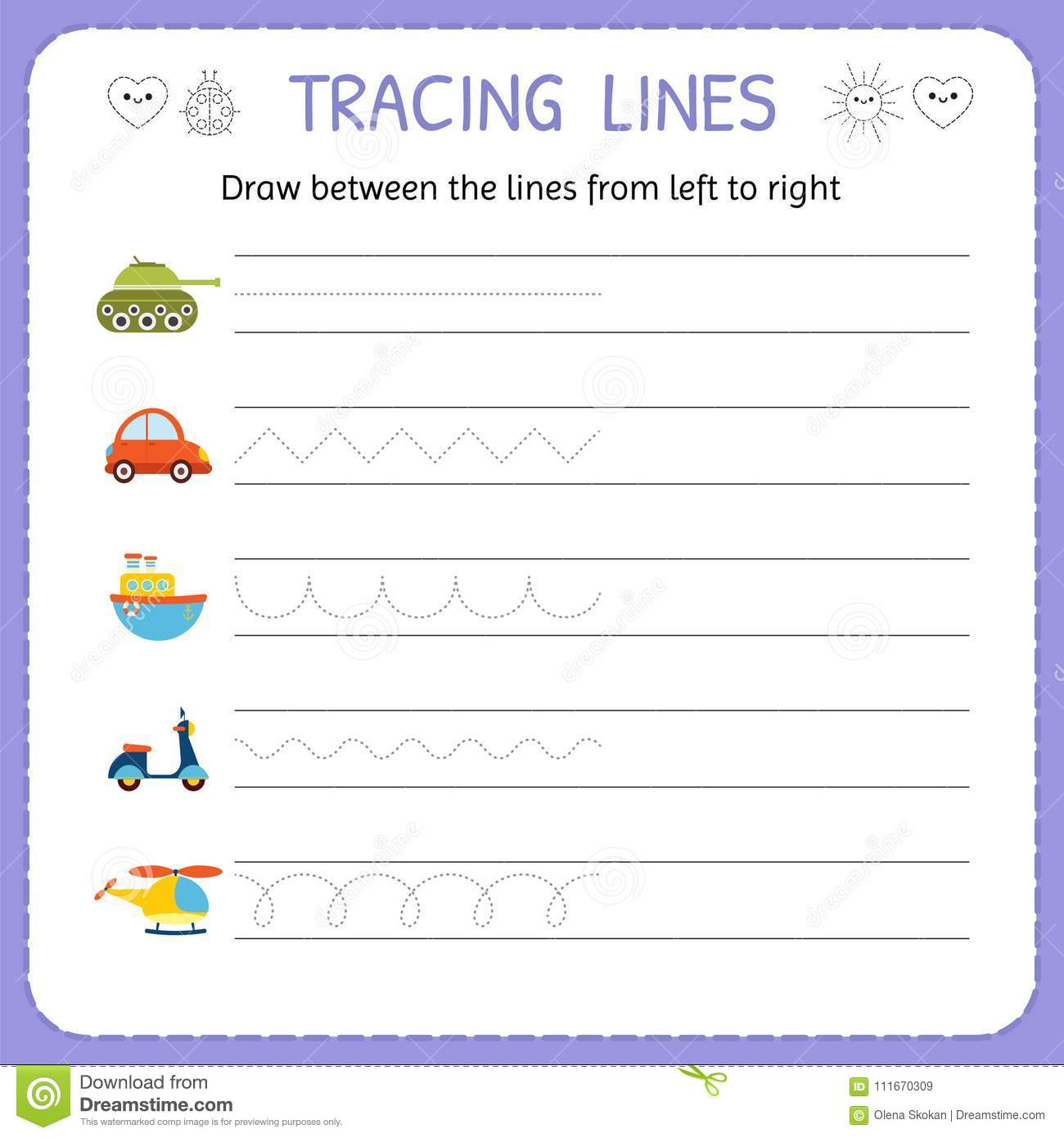 Draw Between The Lines From Left To Right Preschool Kindergarten Worksheet For Practicing