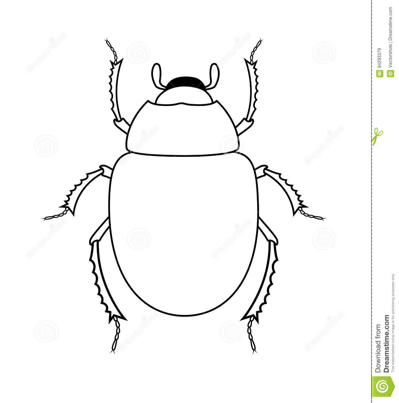 Drawing Art Of Scarab Beetle Insect Stock Vector
