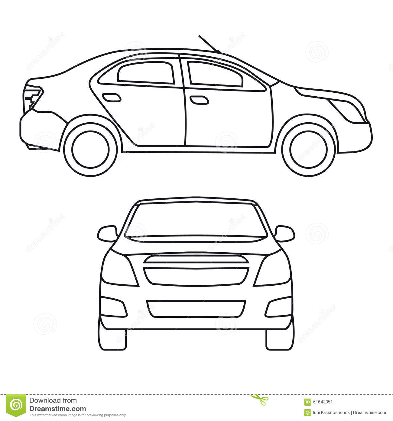 Front Side View Car Drawing