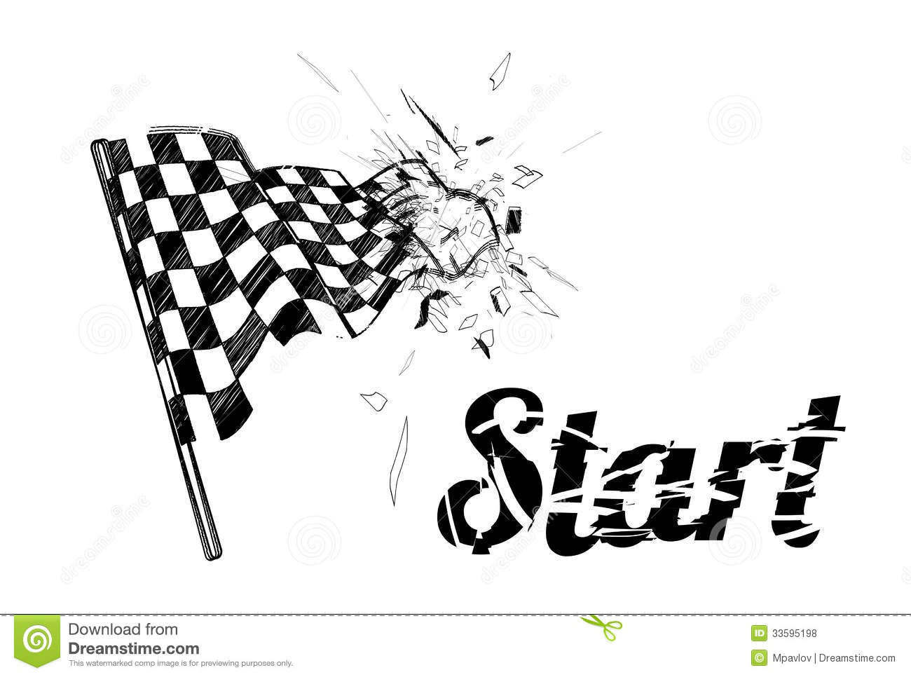 Drawing Checkered Flag In The Dynamic Style Royalty Free