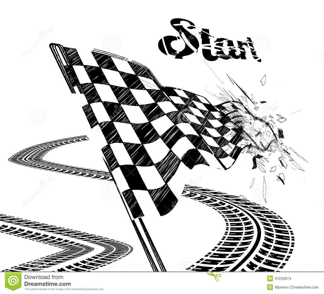 Drawing Checkered Flag With Tire Track Stock Vector
