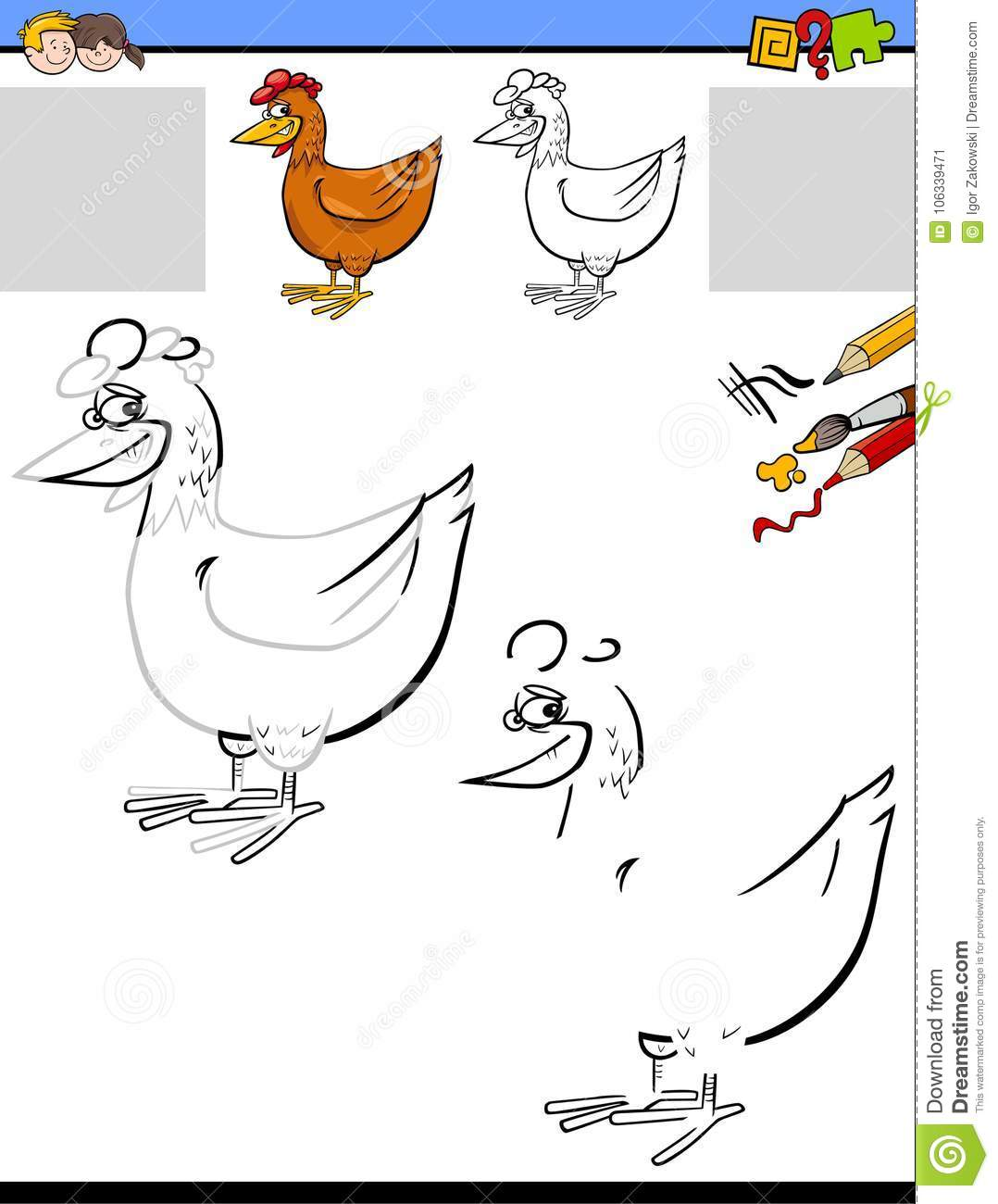 Drawing And Coloring Worksheet With Chicken Stock Vector