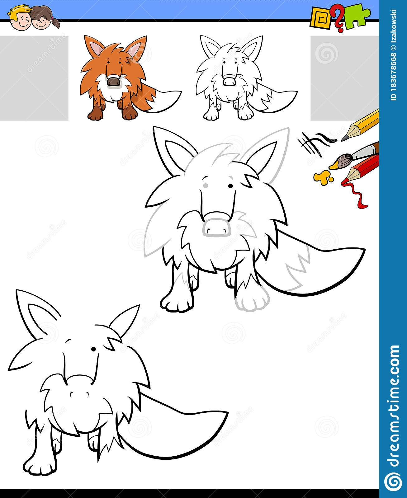 Drawing And Coloring Worksheet With Fox Animal Stock