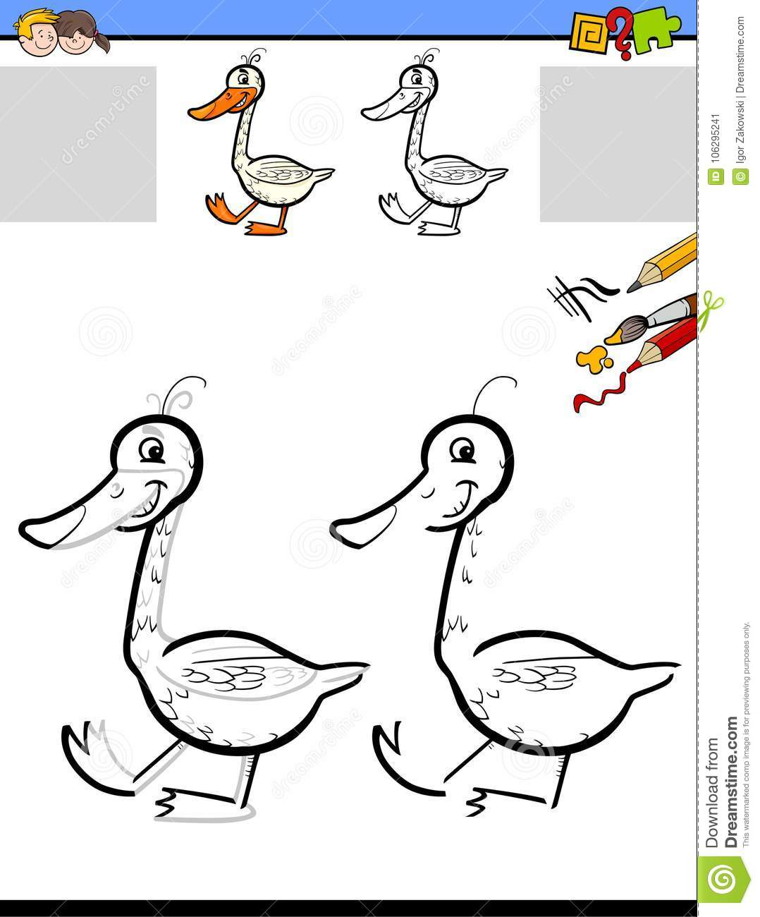 Drawing And Coloring Worksheet With Goose Stock Vector