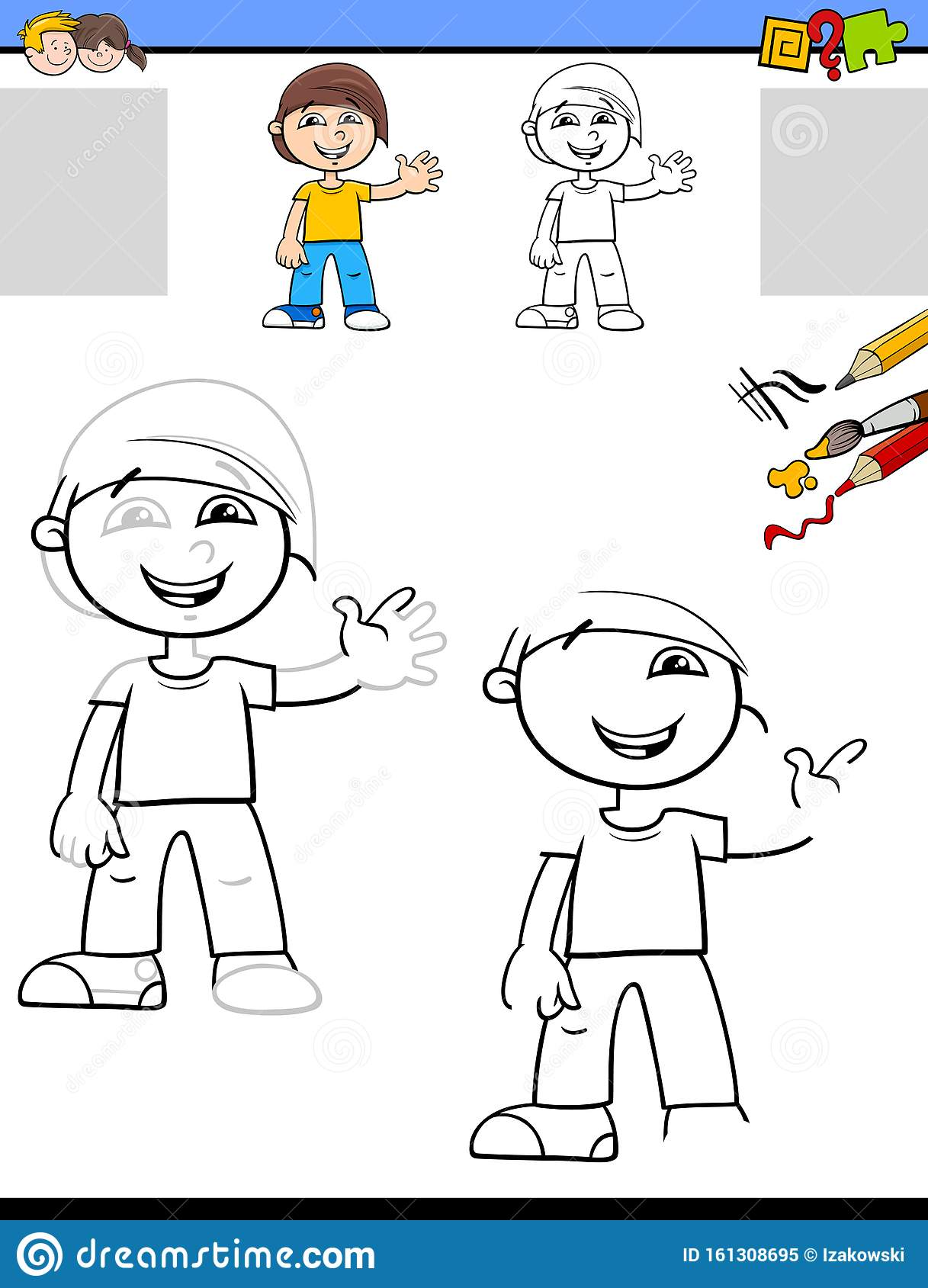 Drawing And Coloring Worksheet With Happy Boy Stock Vector
