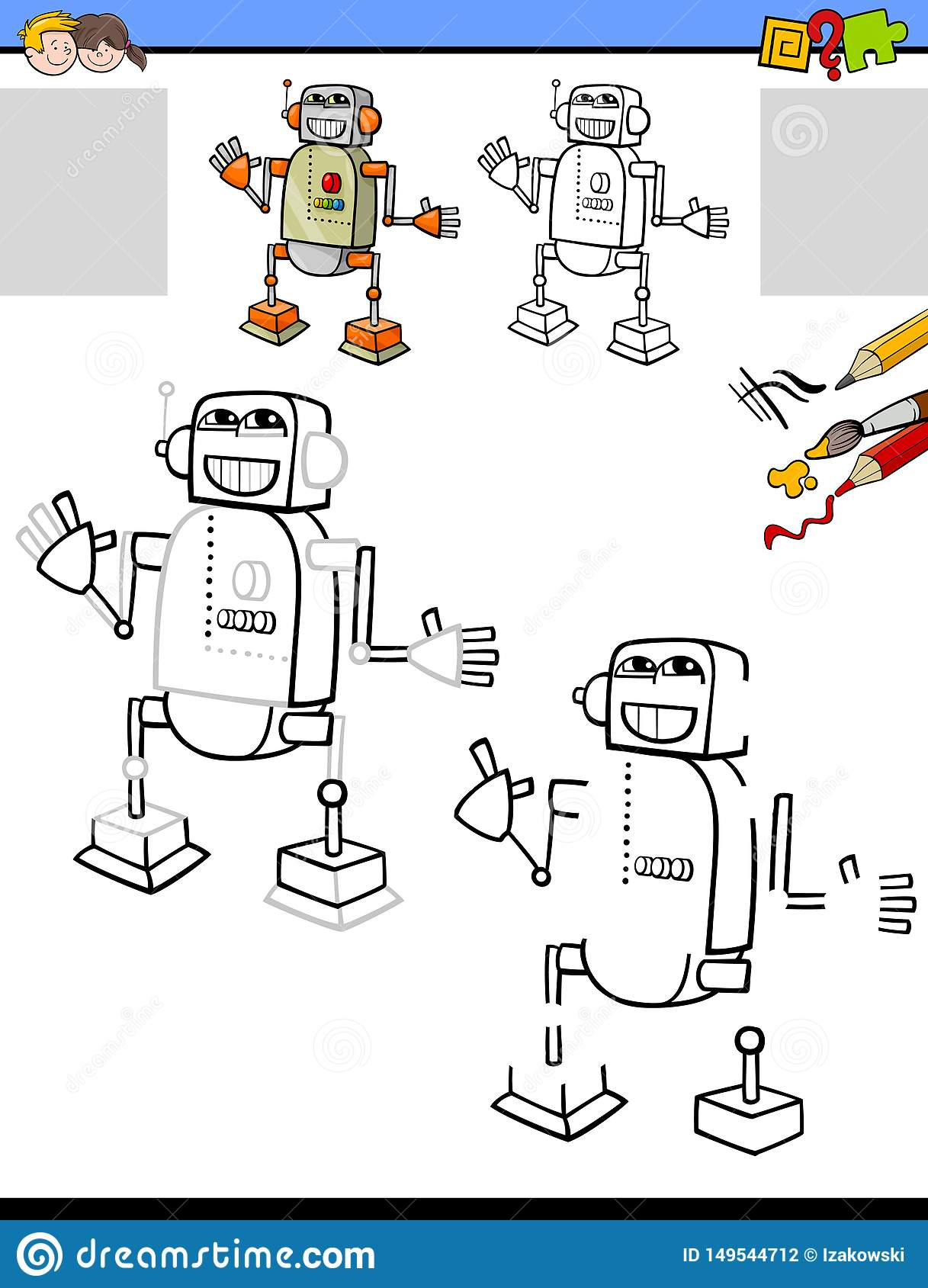 Drawing And Coloring Worksheet With Robot Stock Vector