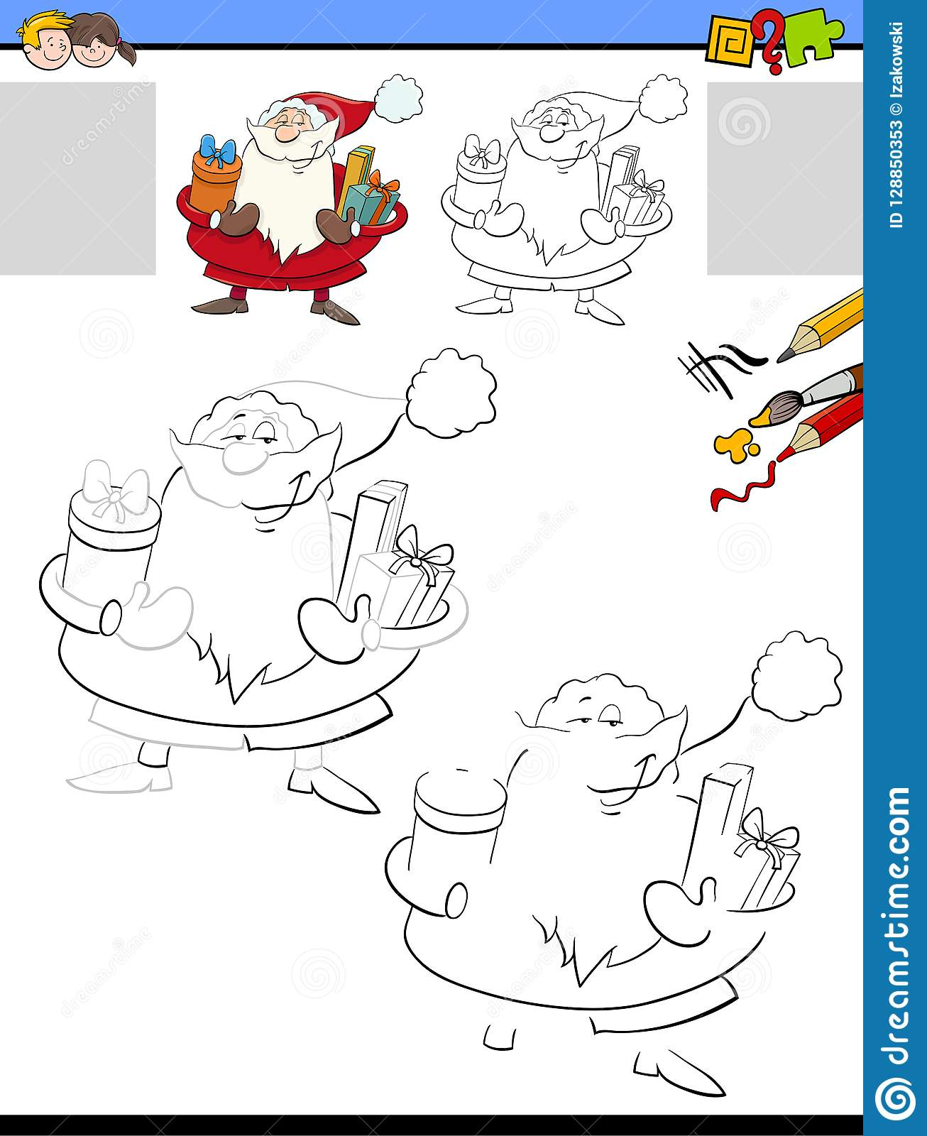 Drawing And Coloring Worksheet With Santa Claus Stock