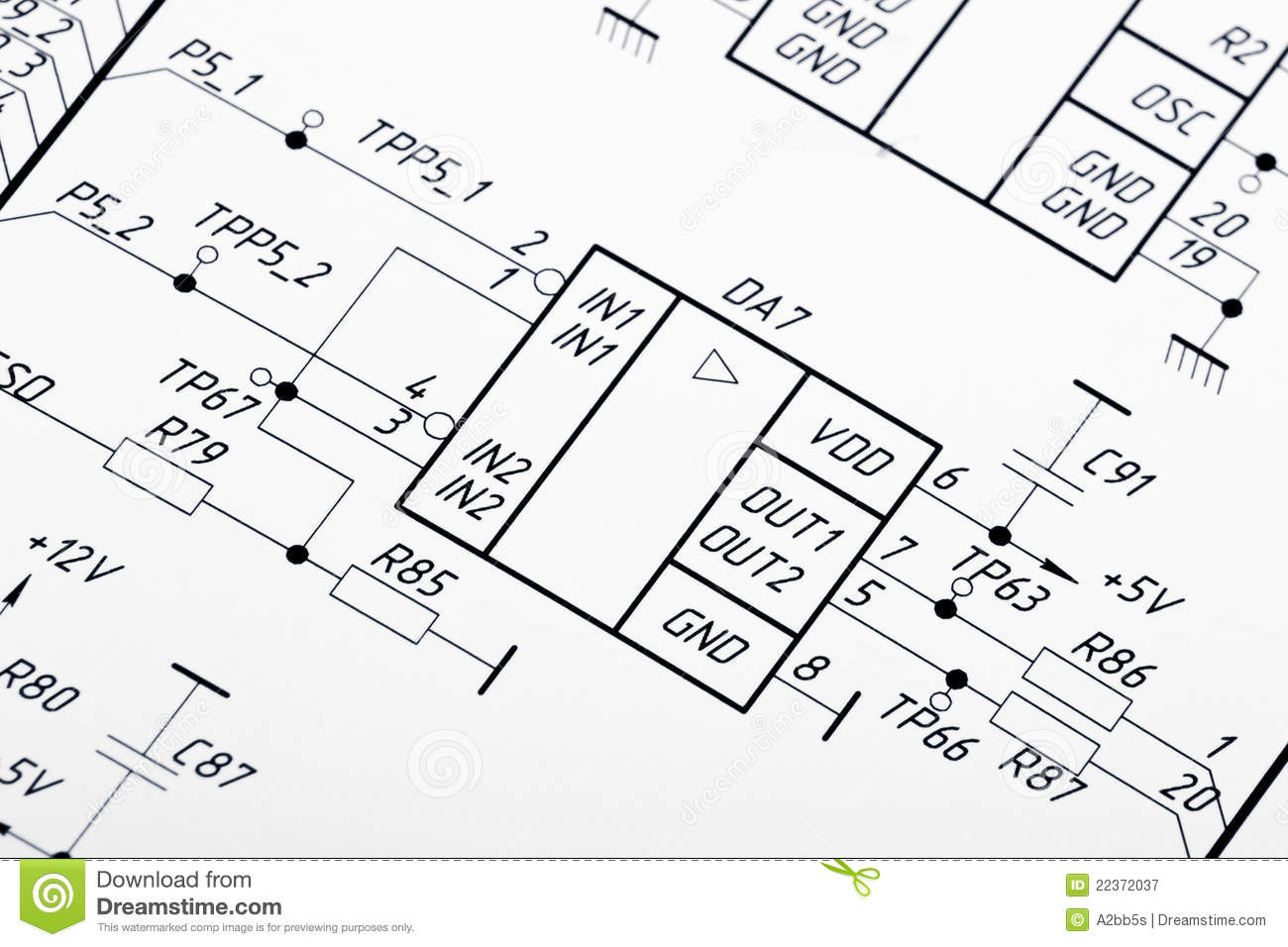 Drawing Of Electrical Circuits Royalty Free Stock