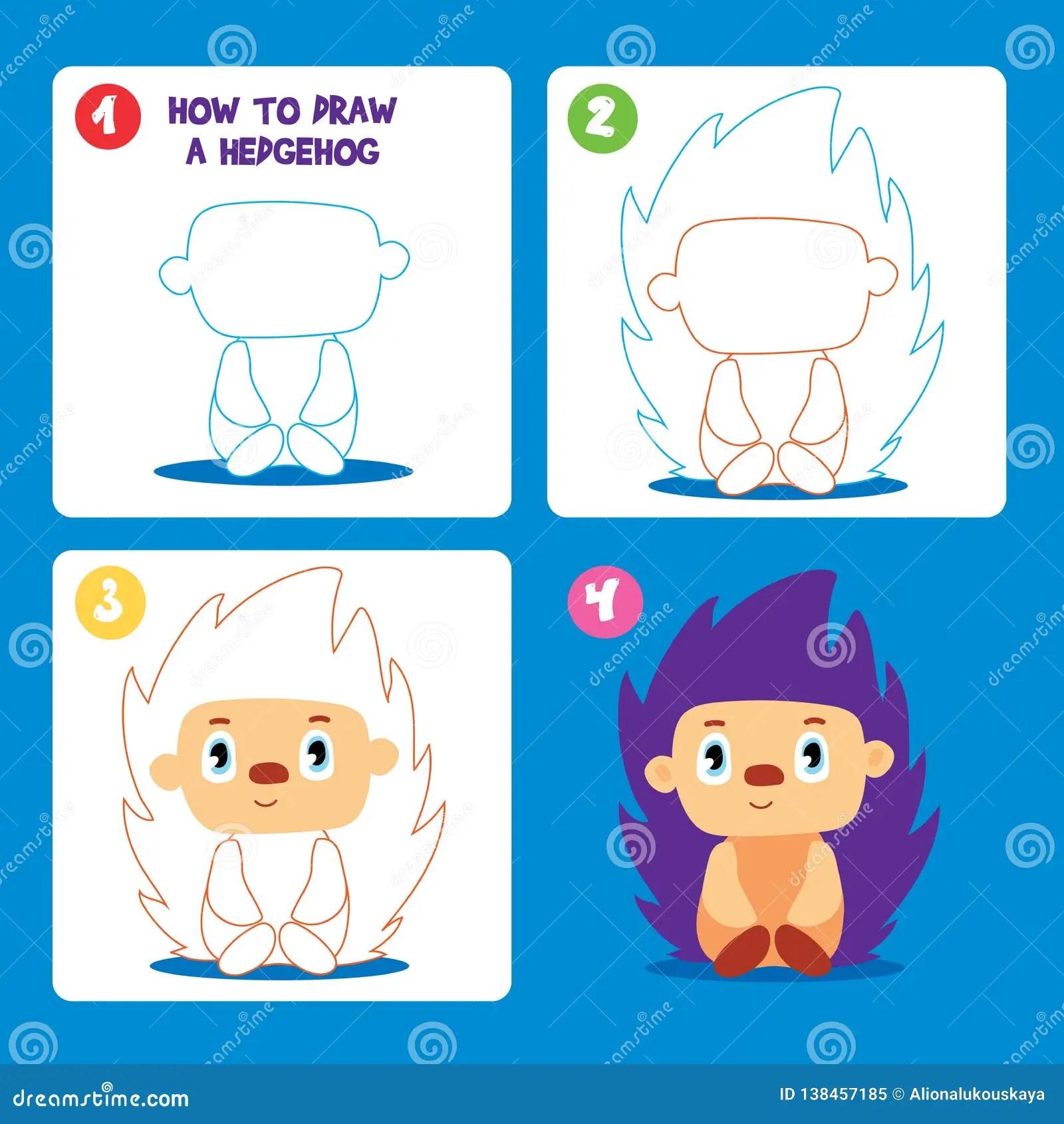 Drawing Game Step Tutorial Hedgehog Worksheet Cartoon