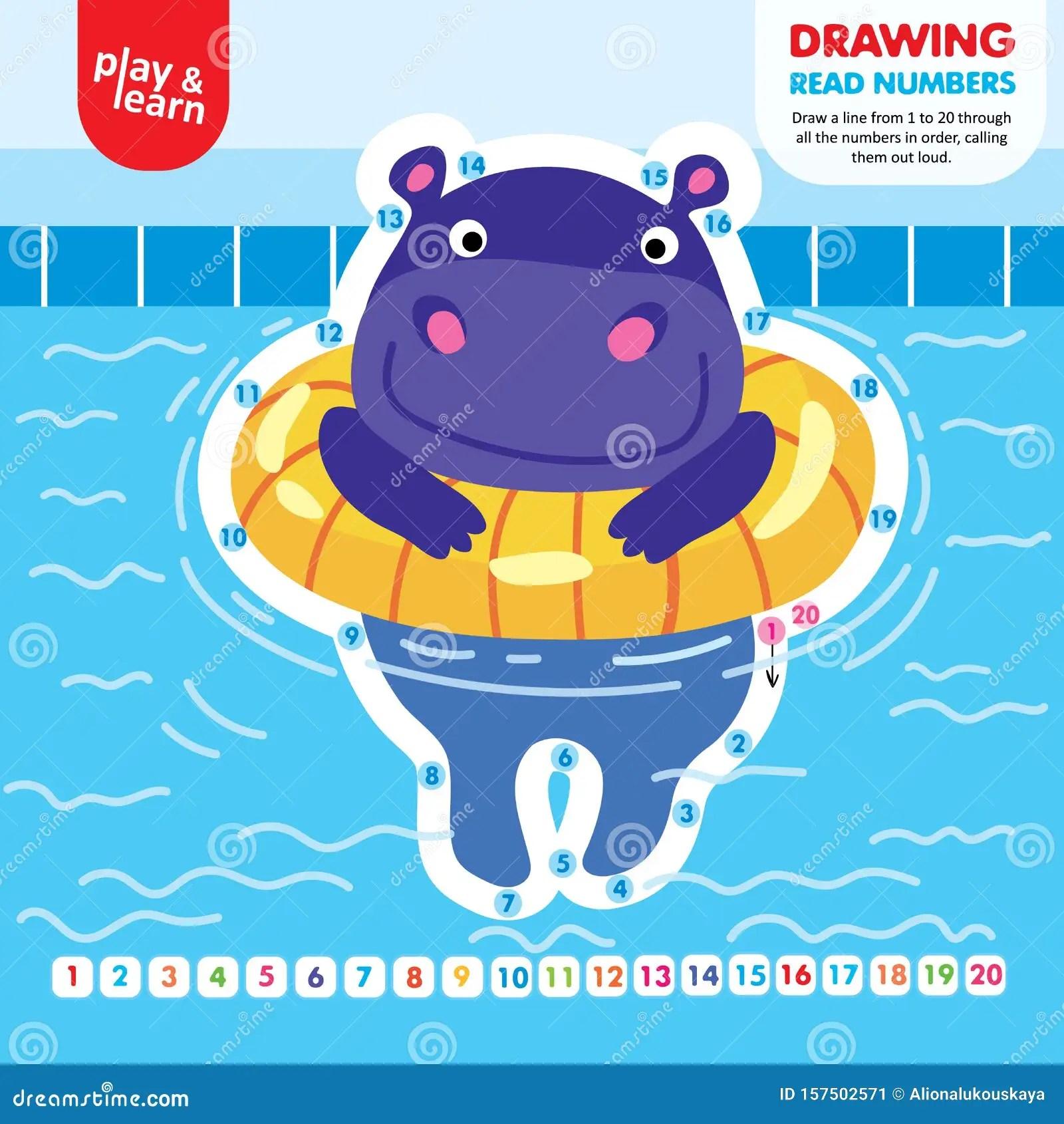 Drawing Game Tutorial Hippo Printable Worksheet Vector