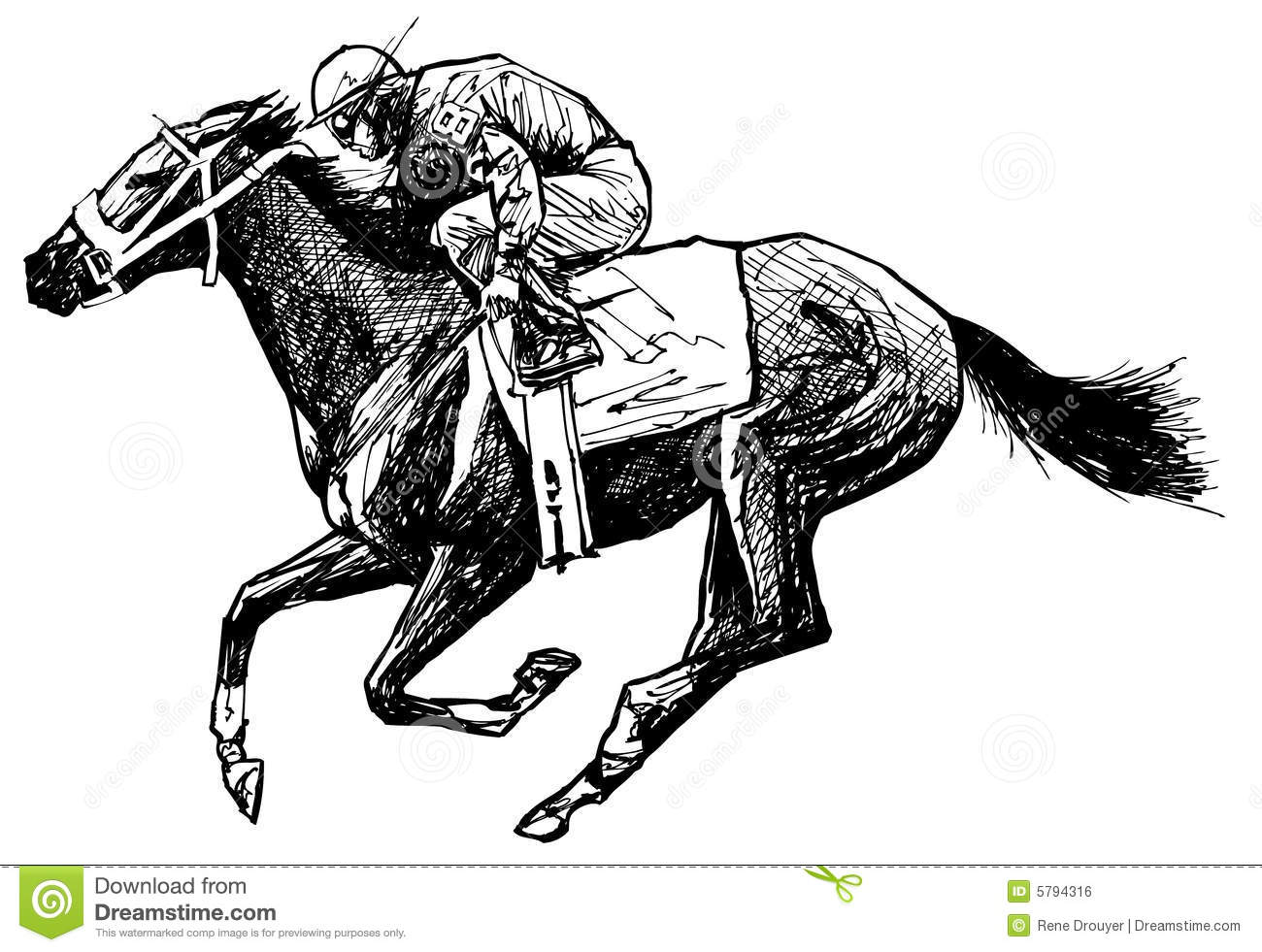 Drawing Of A Horse And Rider Stock Vector