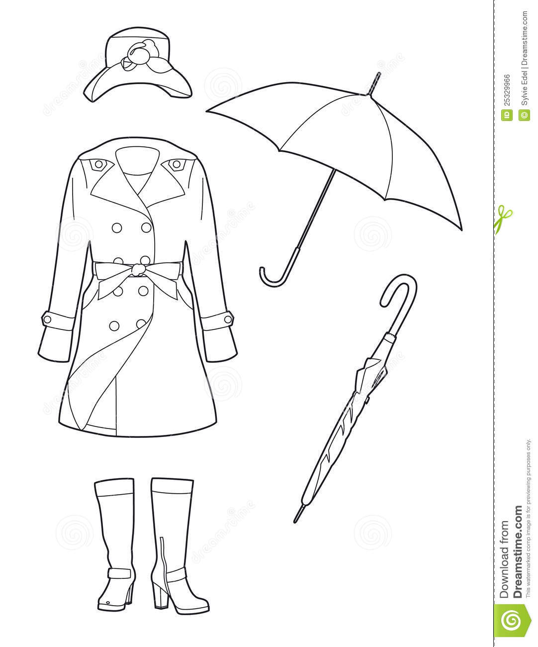 Drawing Rainwear Stock Vector Illustration Of Accessories