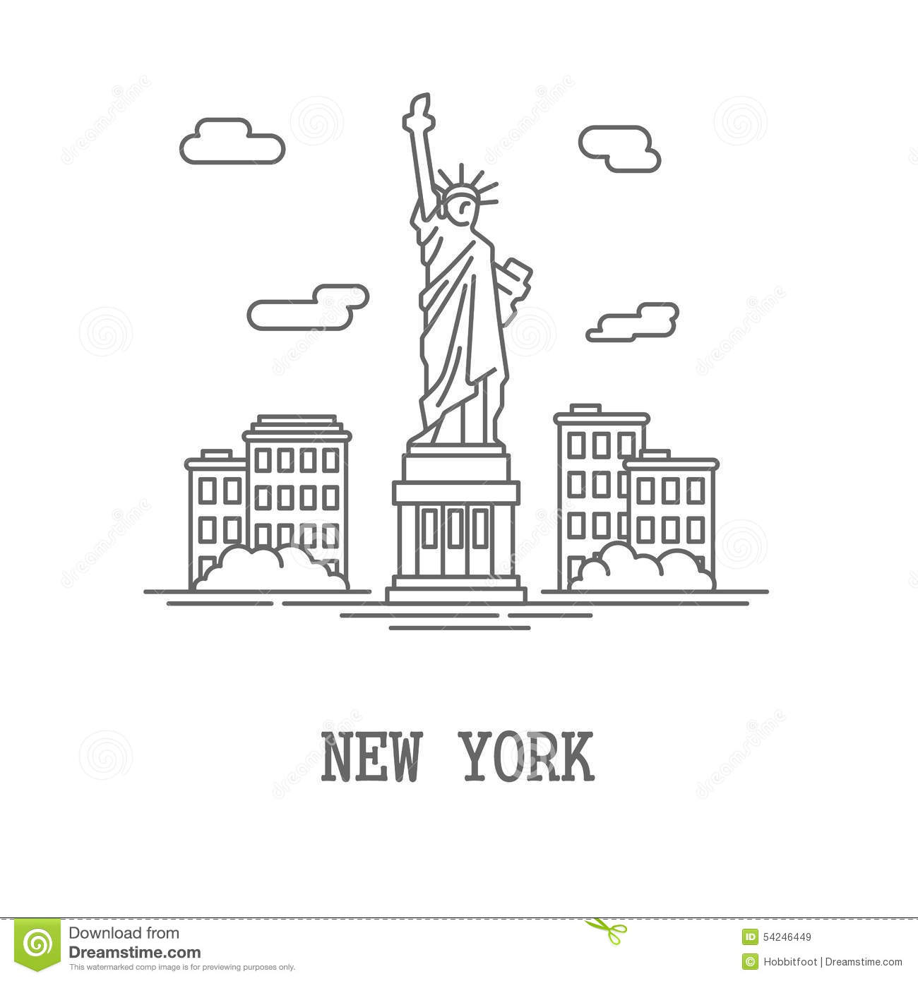 Drawing Silhouette New York City Cartoon Vector