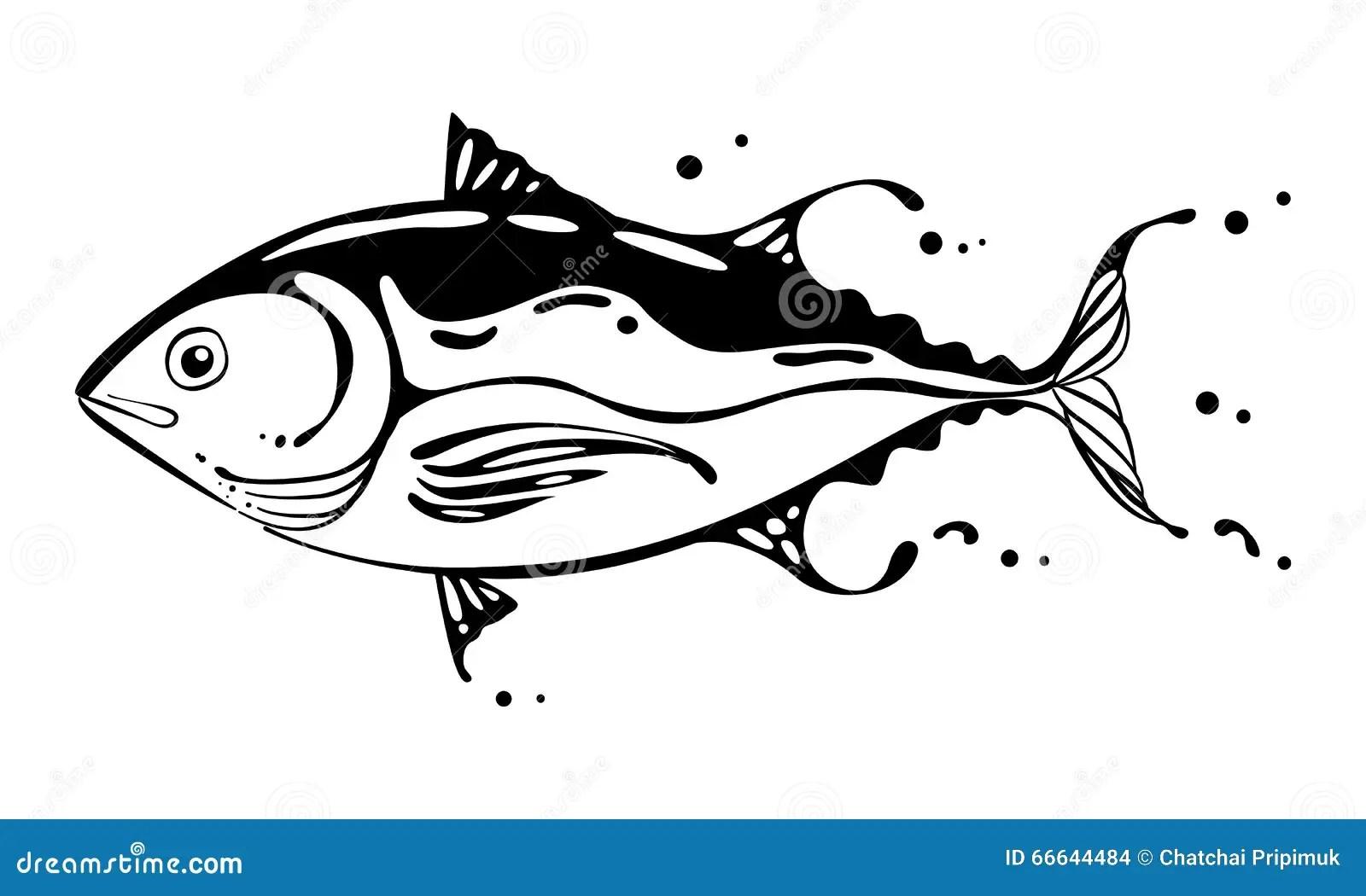 Drawing Tuna Fish Vector Stock Vector
