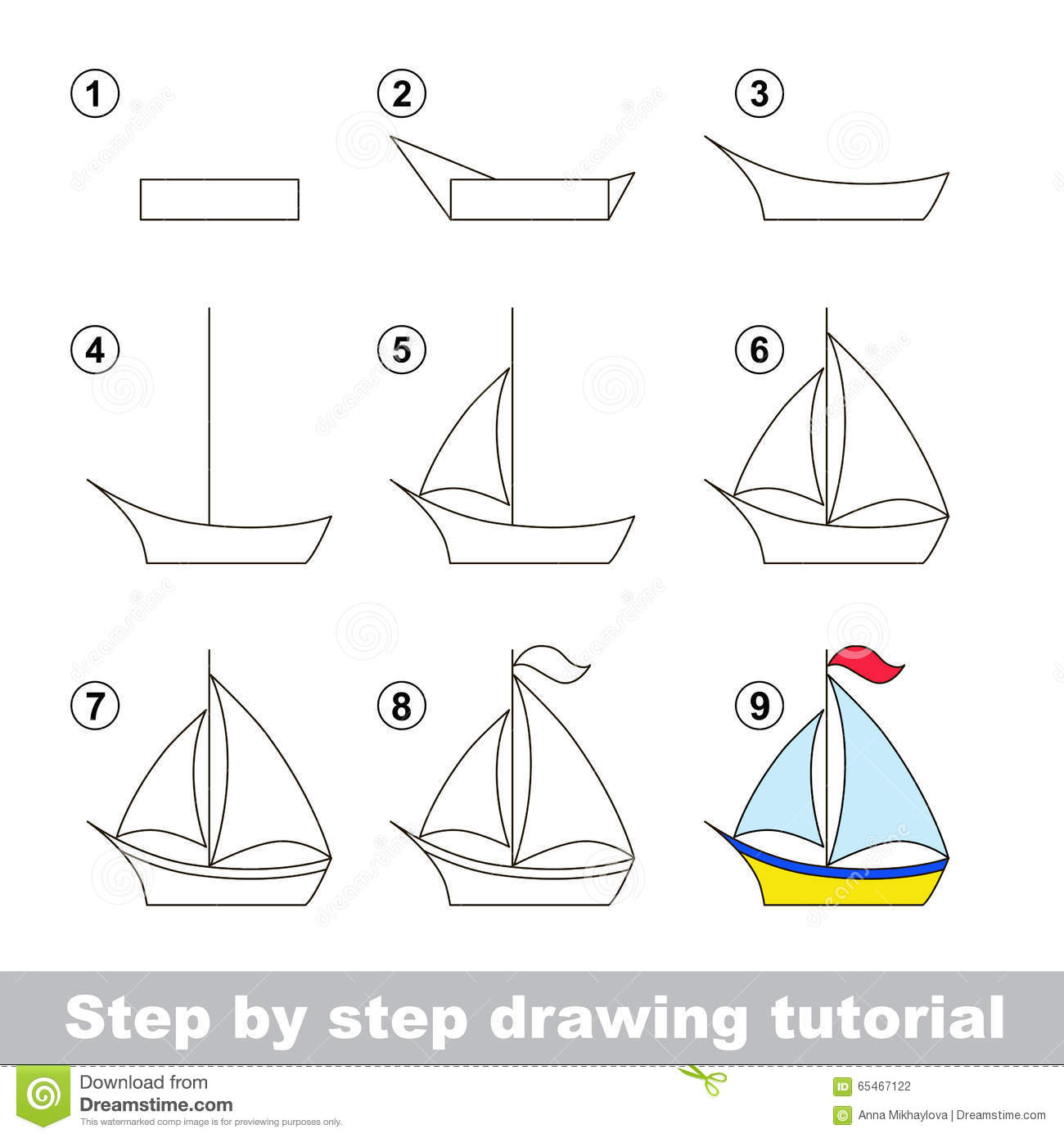 Drawing Tutorial How To Draw A Boat Stock Vector