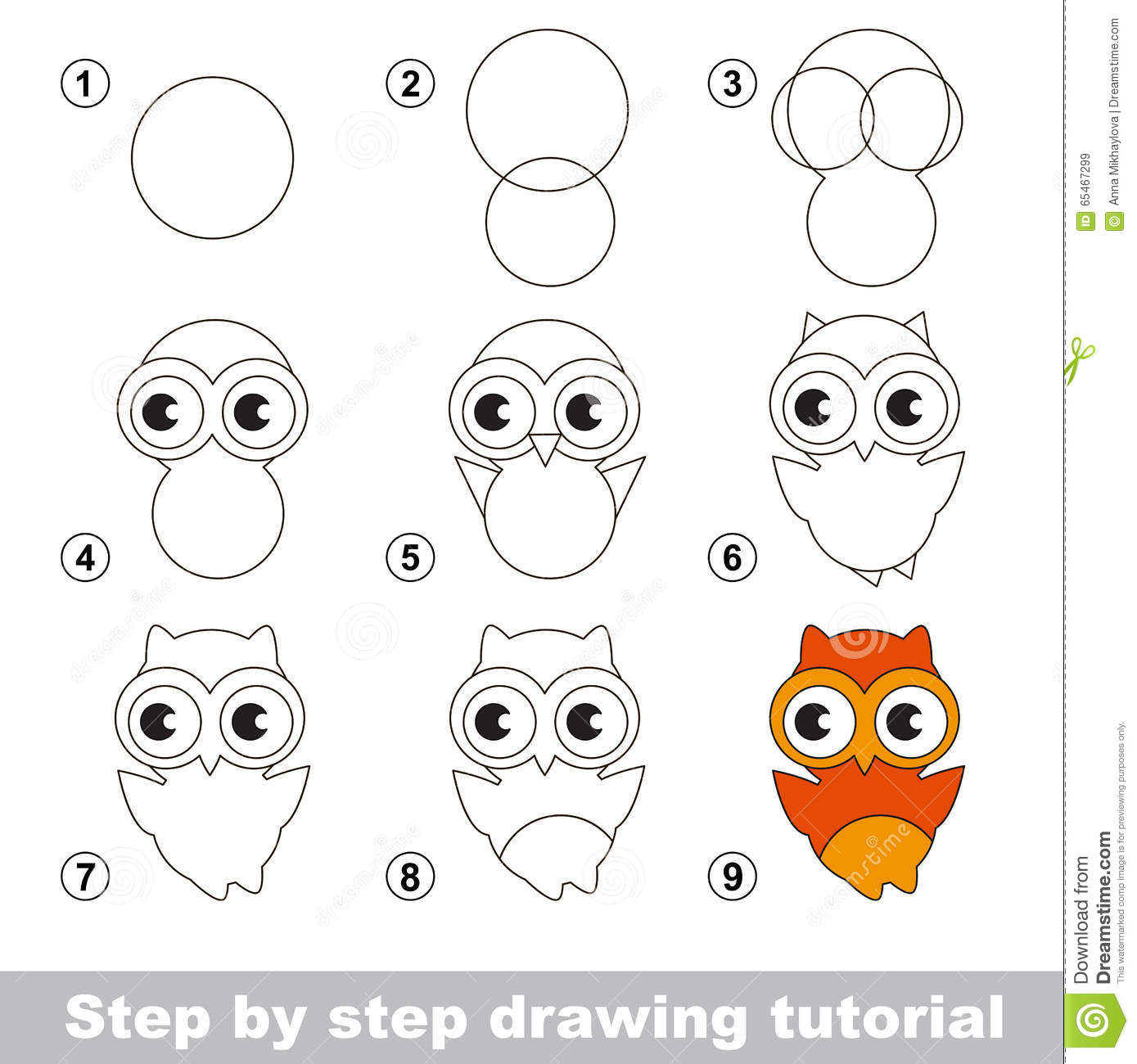Drawing Tutorial How To Draw A Cute Owl Stock Vector