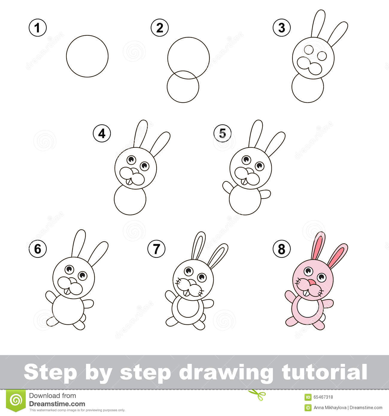 Drawing Tutorial How To Draw A Little Rabbit Stock Vector