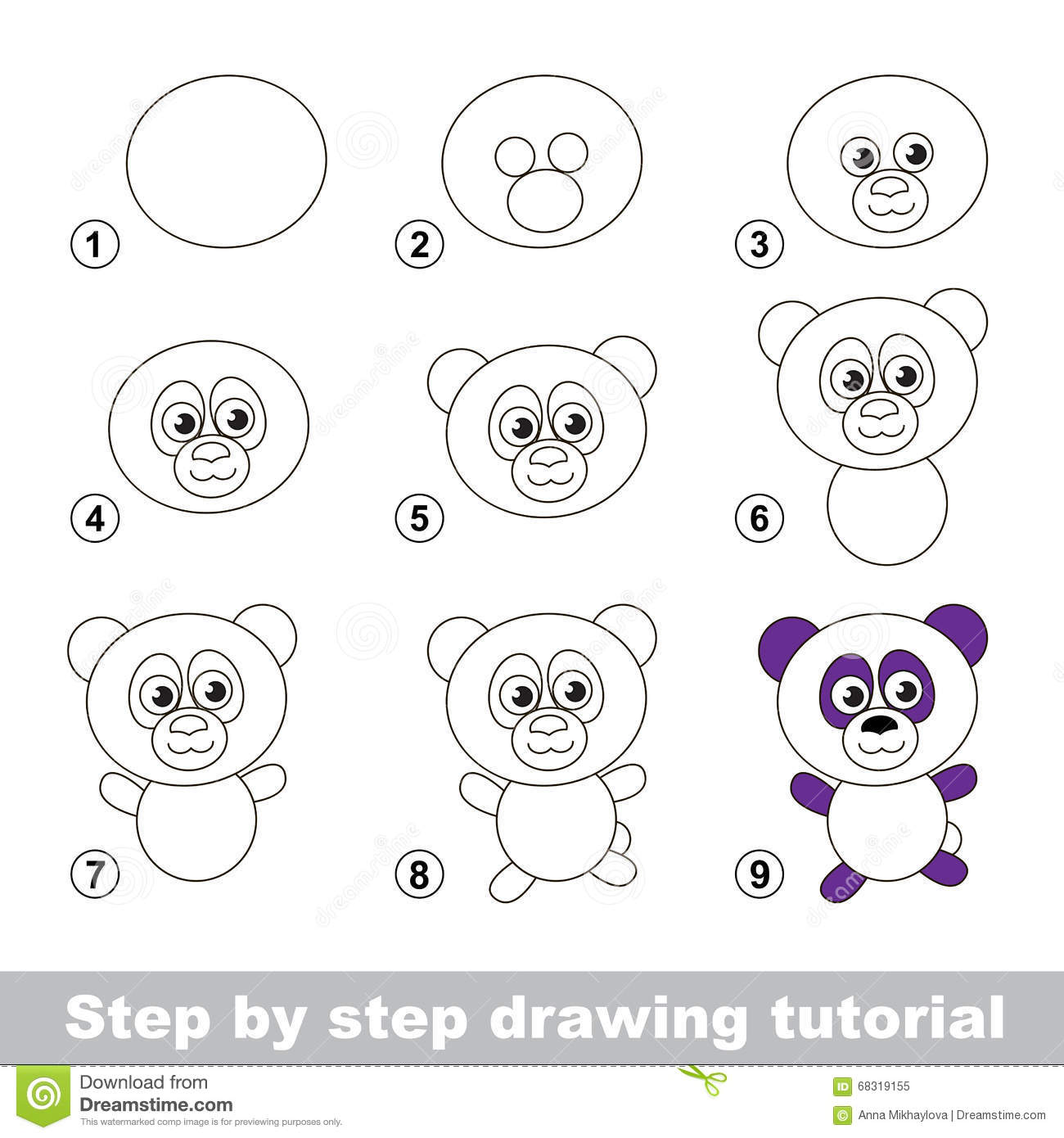 Drawing Tutorial How To Draw A Panda Stock Vector