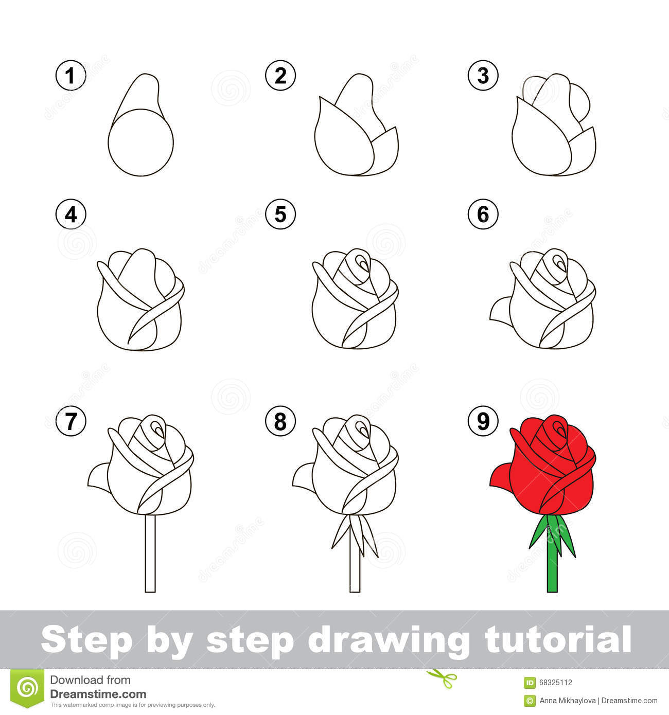 Drawing Tutorial How To Draw A Rose Stock Vector