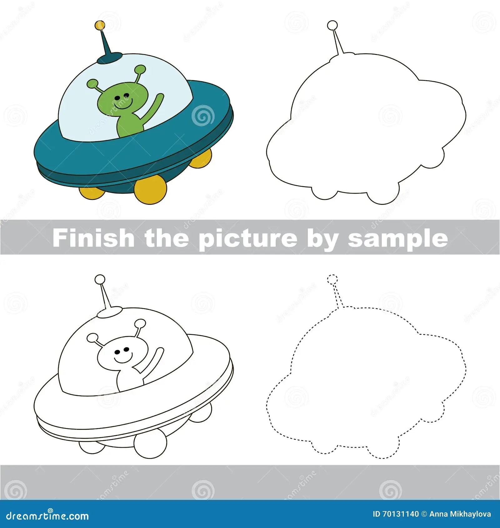 Ufo Drawing Worksheet Stock Illustration Illustration
