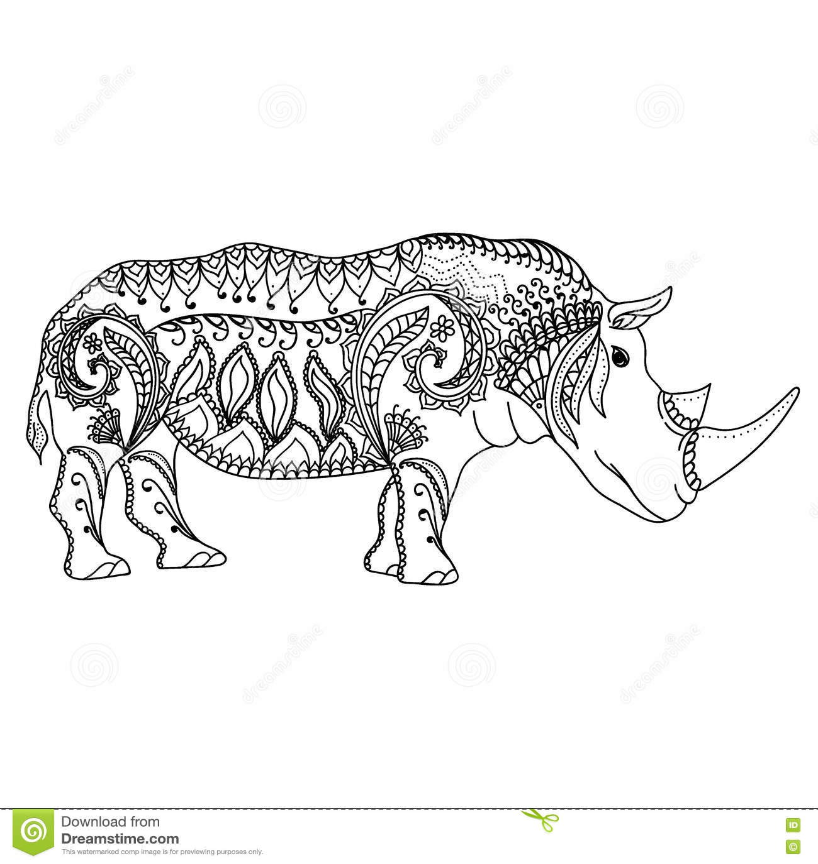 Adult Coloring Page Rhino Cartoon Vector