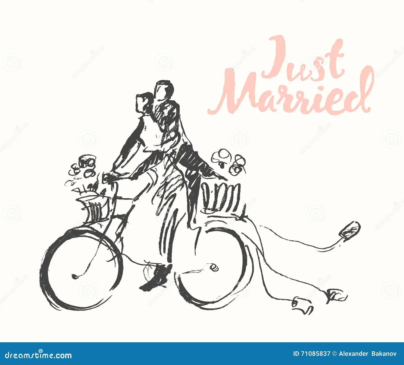 Drawn Happy Bride Groom Bicycle Vector Sketch Stock Vector