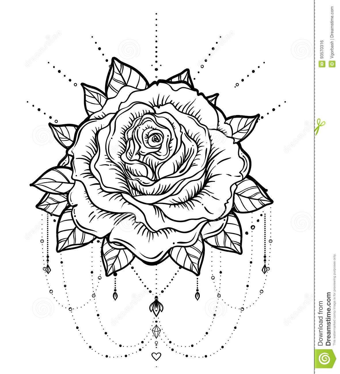 Dream Catcher With Rose Flower Detailed Vector