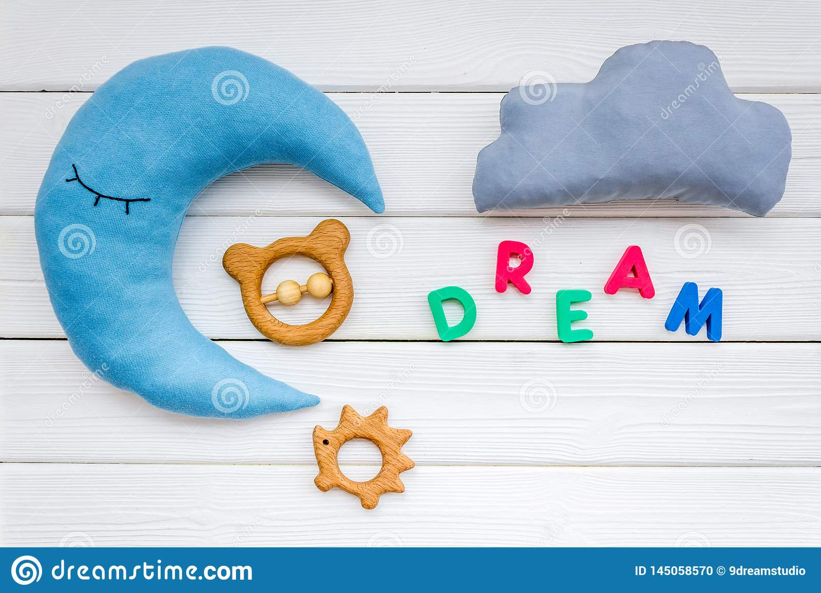https www dreamstime com dream copy baby pattern moon pillow cloud toy white wooden background top view care concept image145058570