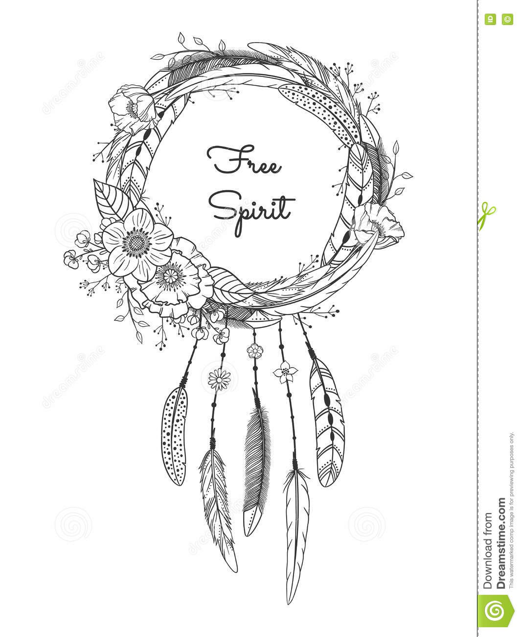 Dreamcatcher With Feathers And Flowers Stock Vector