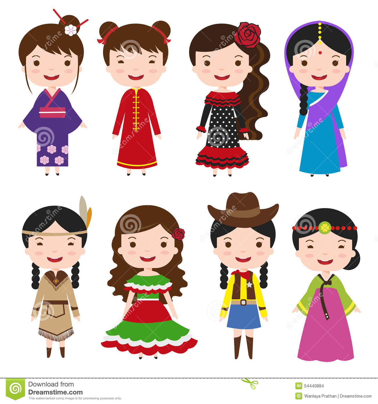 Dress Girls In Traditional Costumes Stock Vector