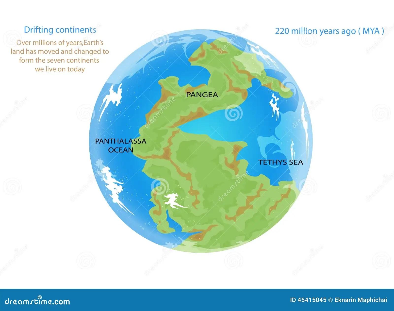 Drifting Continents Stock Illustration Illustration Of