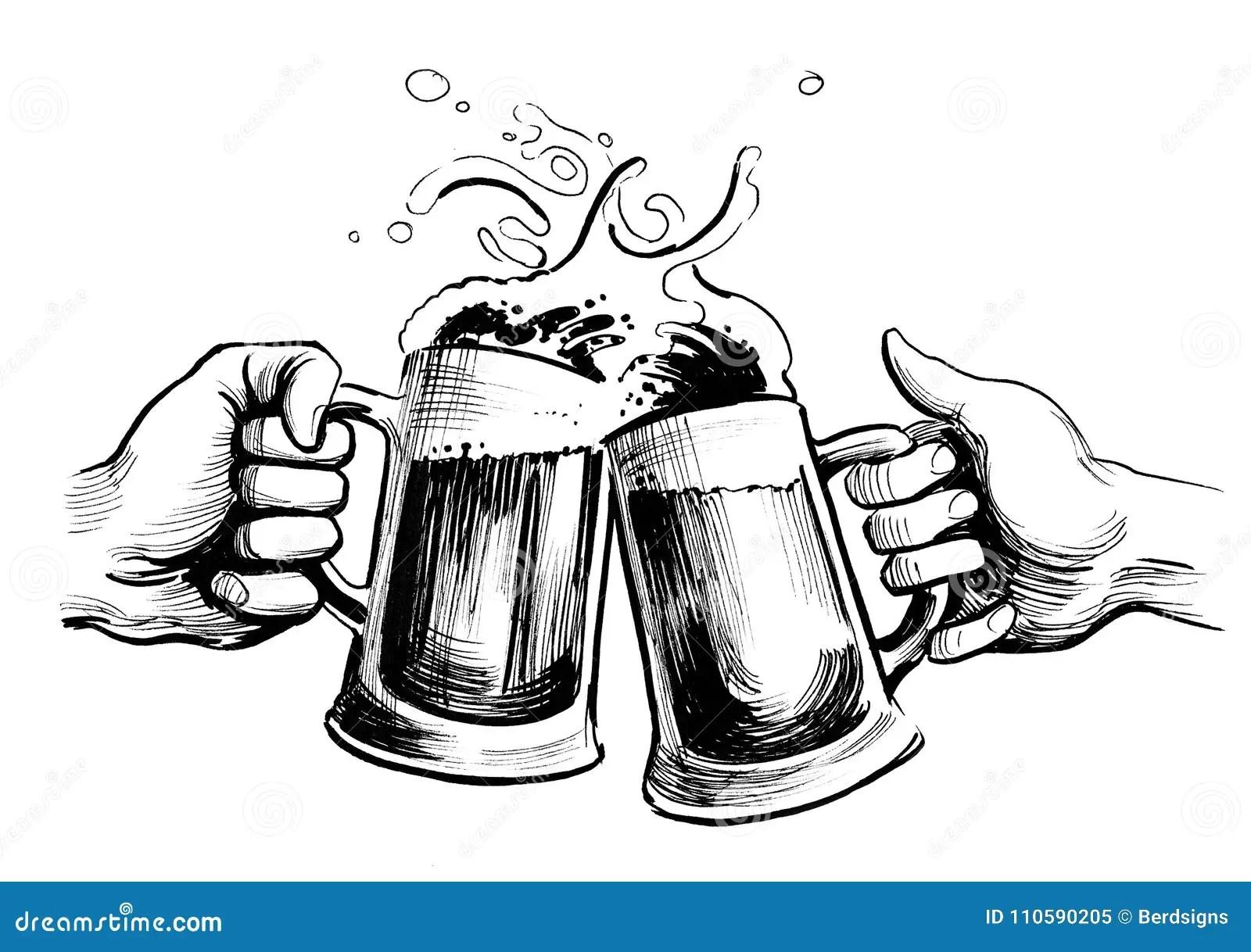 Drinking Beer Stock Illustration Illustration Of Cheering