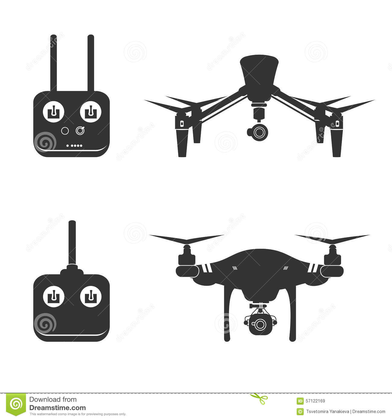 Drone Silhouette Video Aerial Fly Helicopter Stock Vector